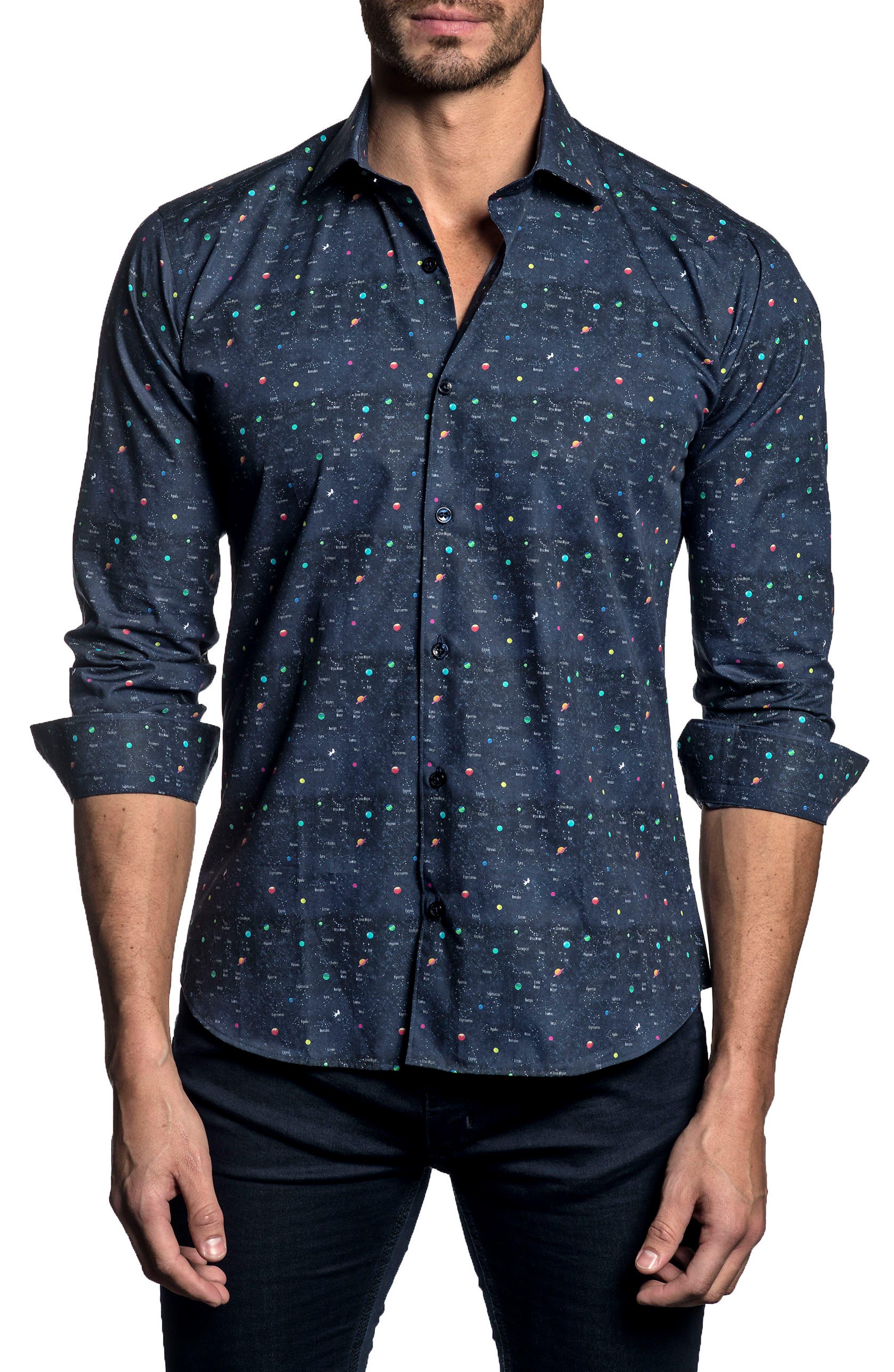 Trim Fit Planet Print Sport Shirt,                         Main,                         color, Navy Print