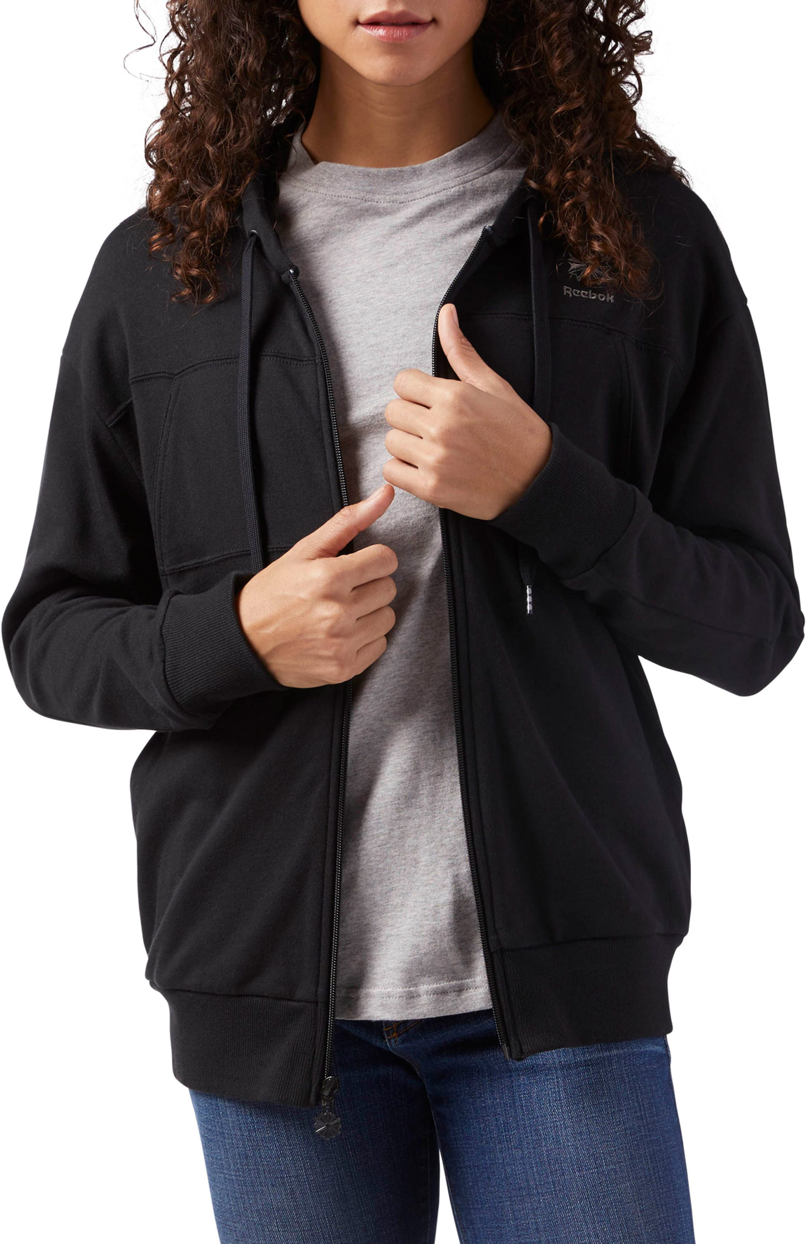Full Zip French Terry Hoodie,                         Main,                         color, Black