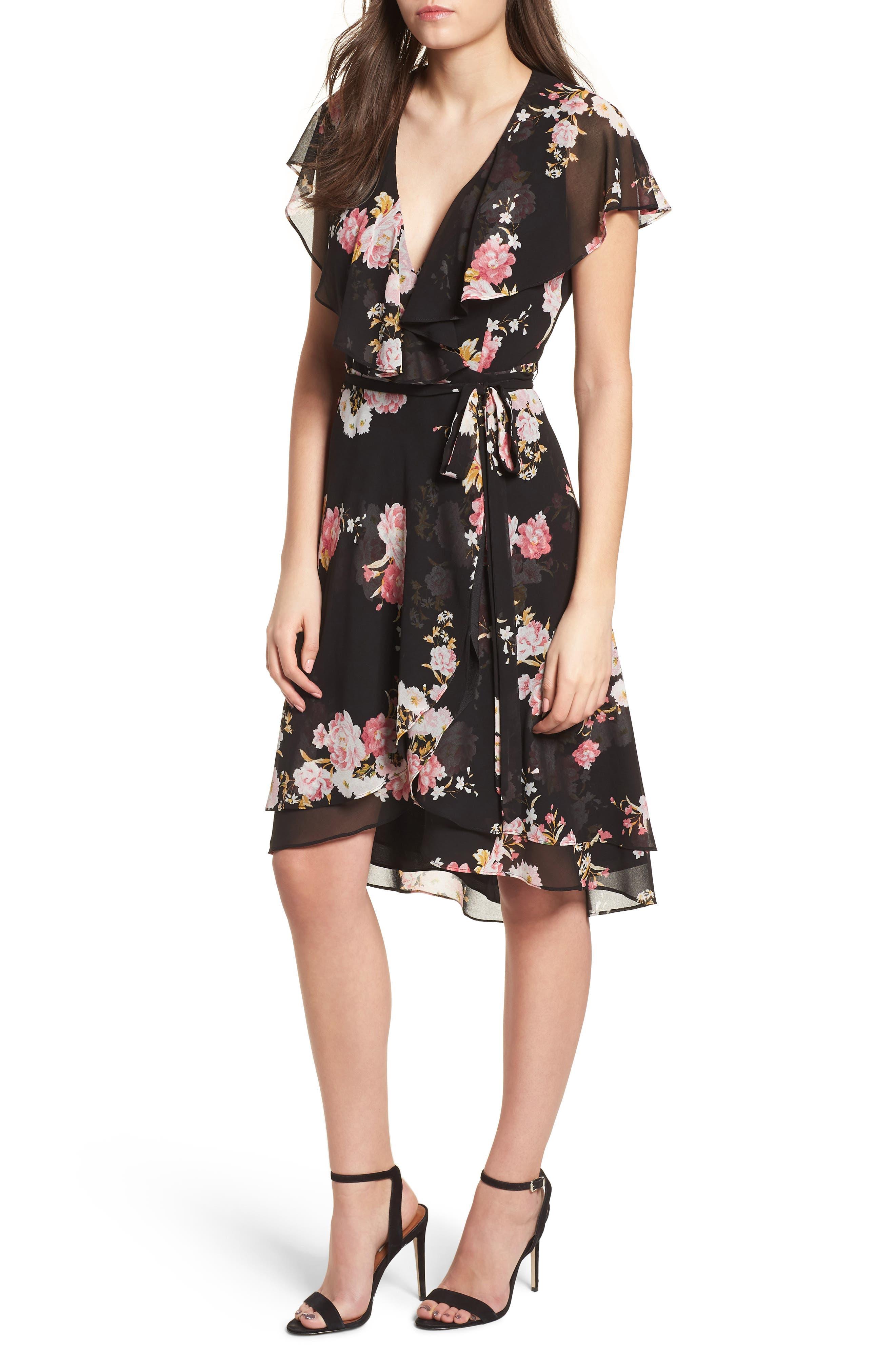 Polermo Wrap Midi Dress,                             Main thumbnail 1, color,                             Black Floral