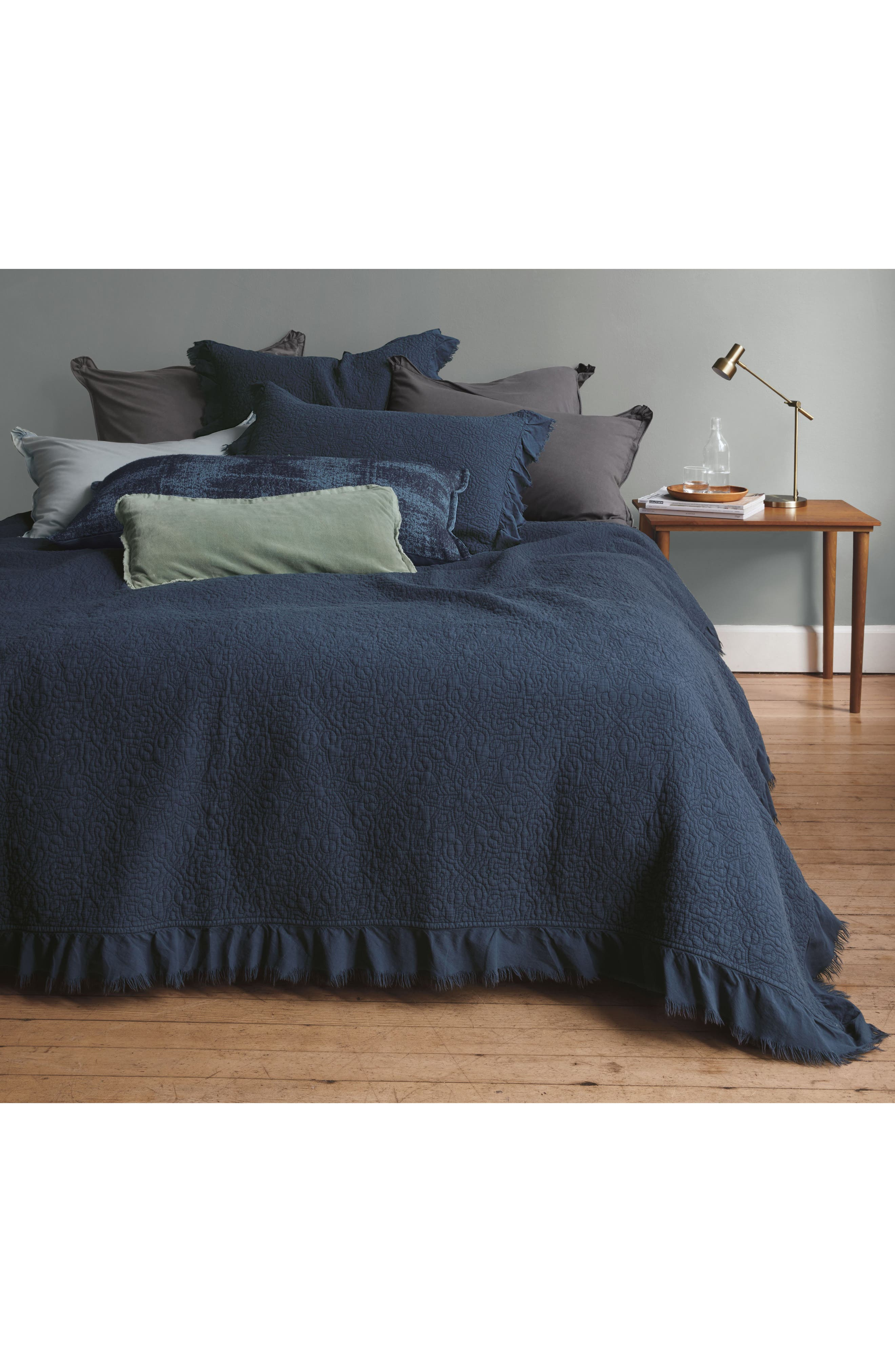 Frayed Edge Stonewash Quilt,                         Main,                         color, Navy Blue