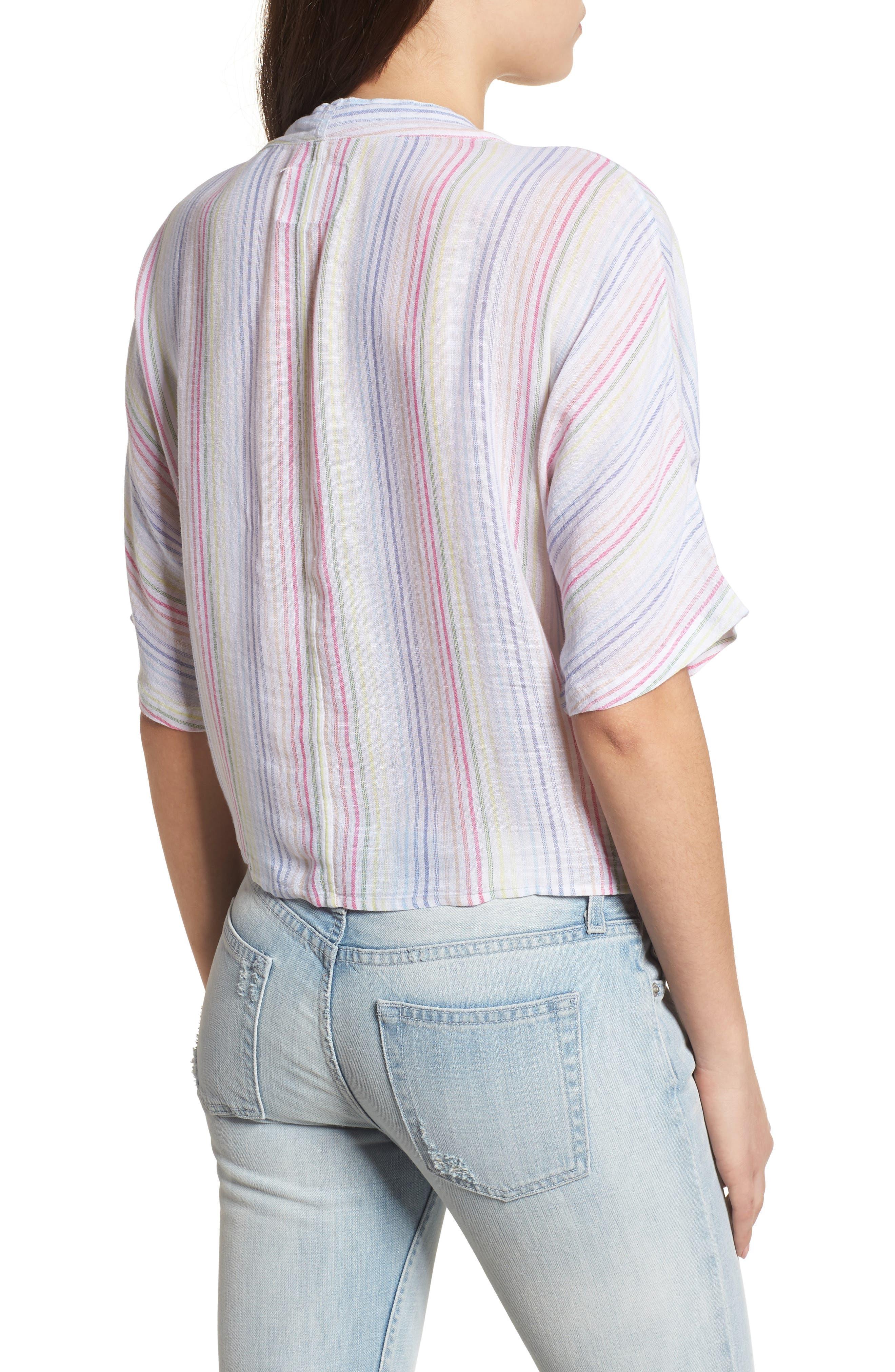 Thea Stripe Tie Waist Linen Blend Top,                             Alternate thumbnail 2, color,                             Isla Stripe