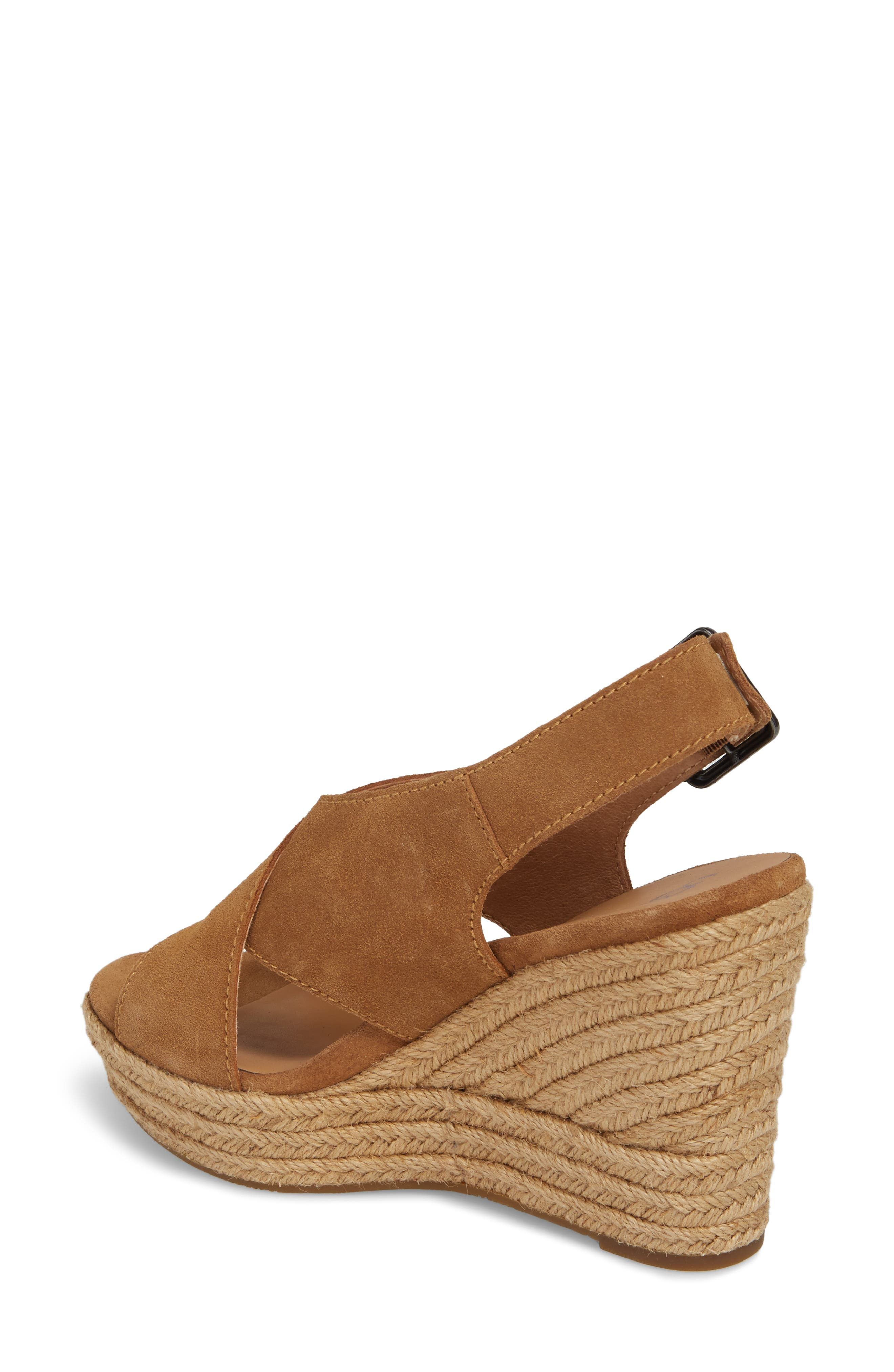 Harlow Platform Wedge Sandal,                             Alternate thumbnail 2, color,                             Chestnut Suede
