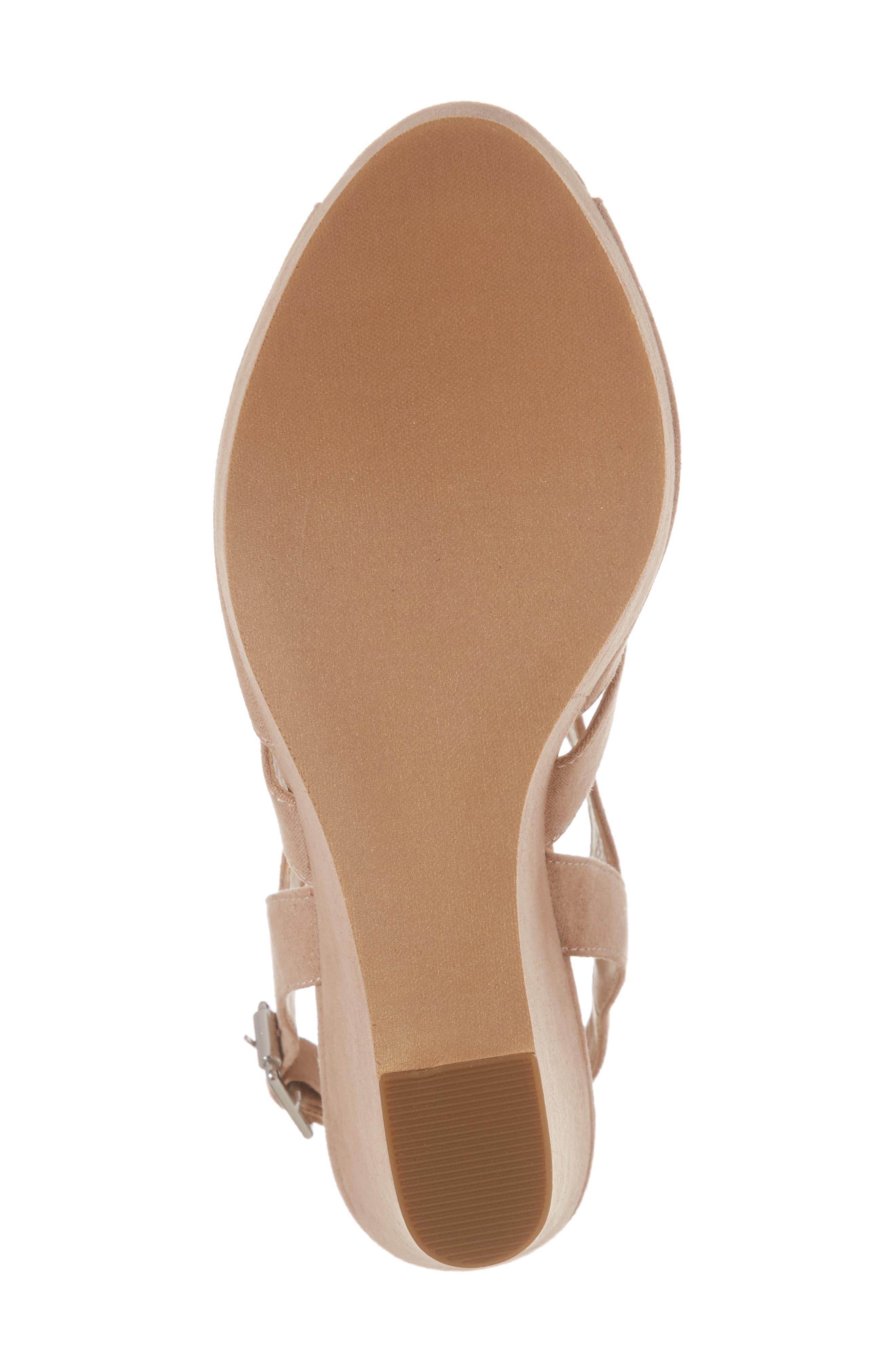 Sunny Platform Wedge Sandal,                             Alternate thumbnail 6, color,                             Nude Faux Suede