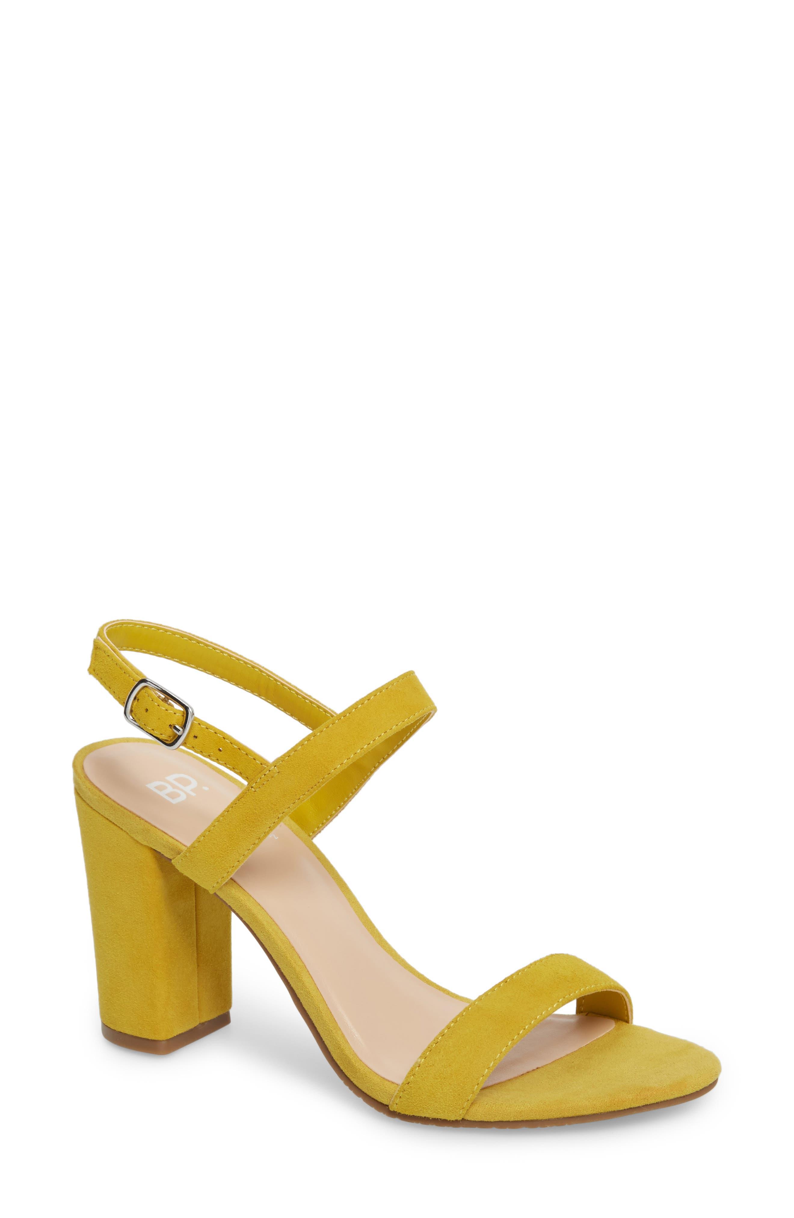 Lula Block Heel Slingback Sandal,                             Main thumbnail 1, color,                             Yellow Suede