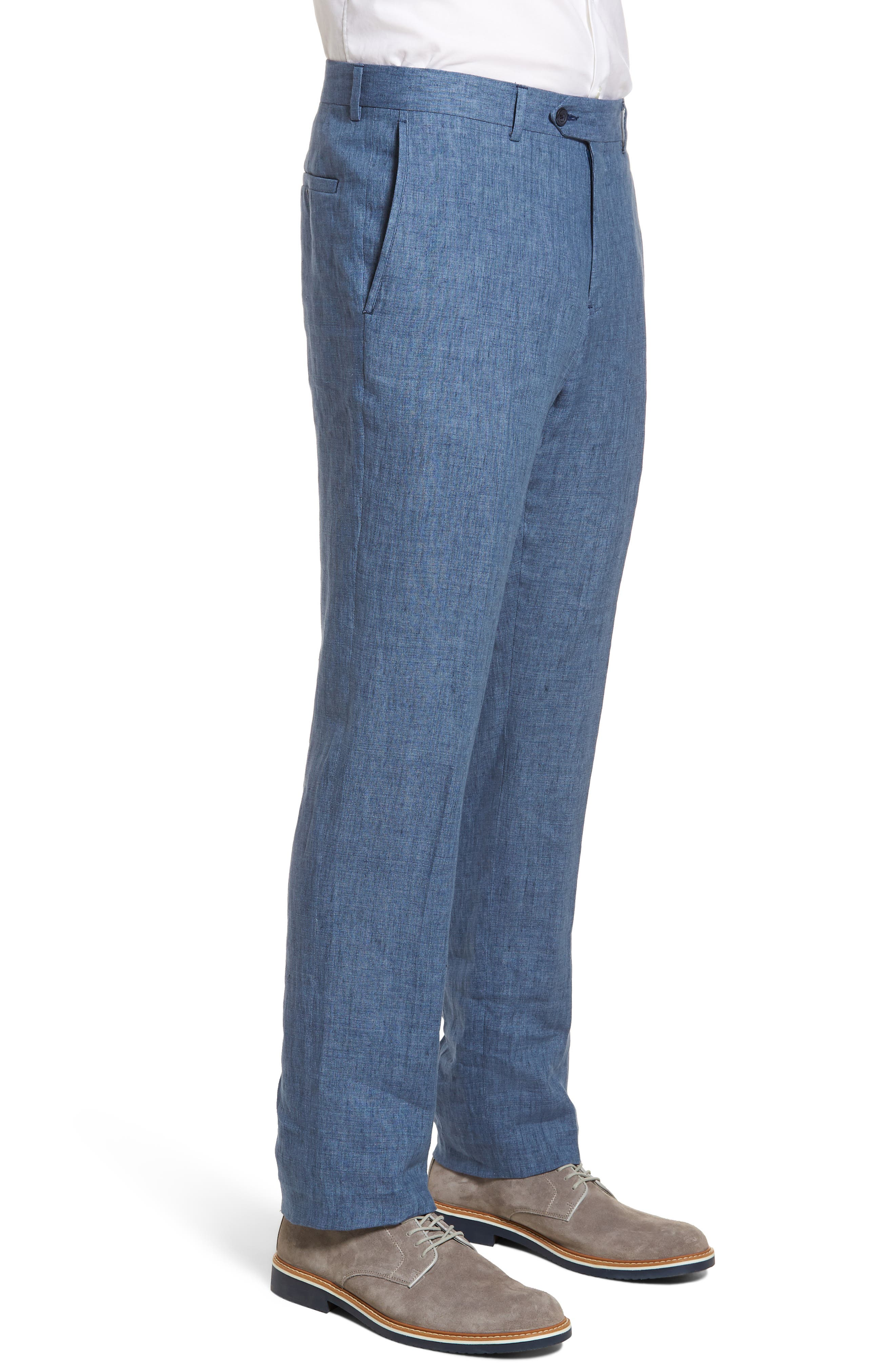 Flat Front Solid Linen Trousers,                             Alternate thumbnail 3, color,                             Blue Denim