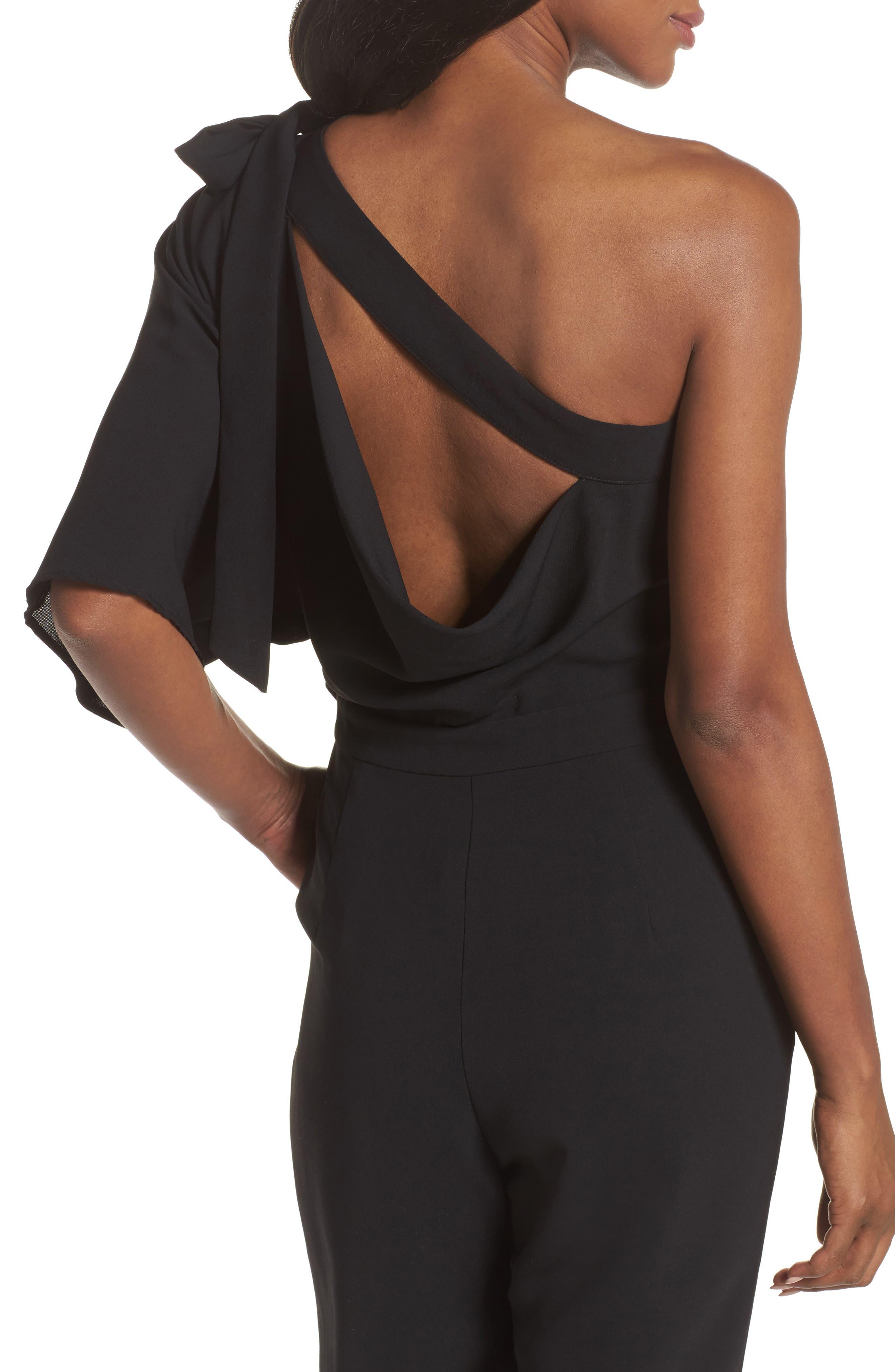Willow One-Shoulder Jumpsuit,                             Alternate thumbnail 4, color,                             Black