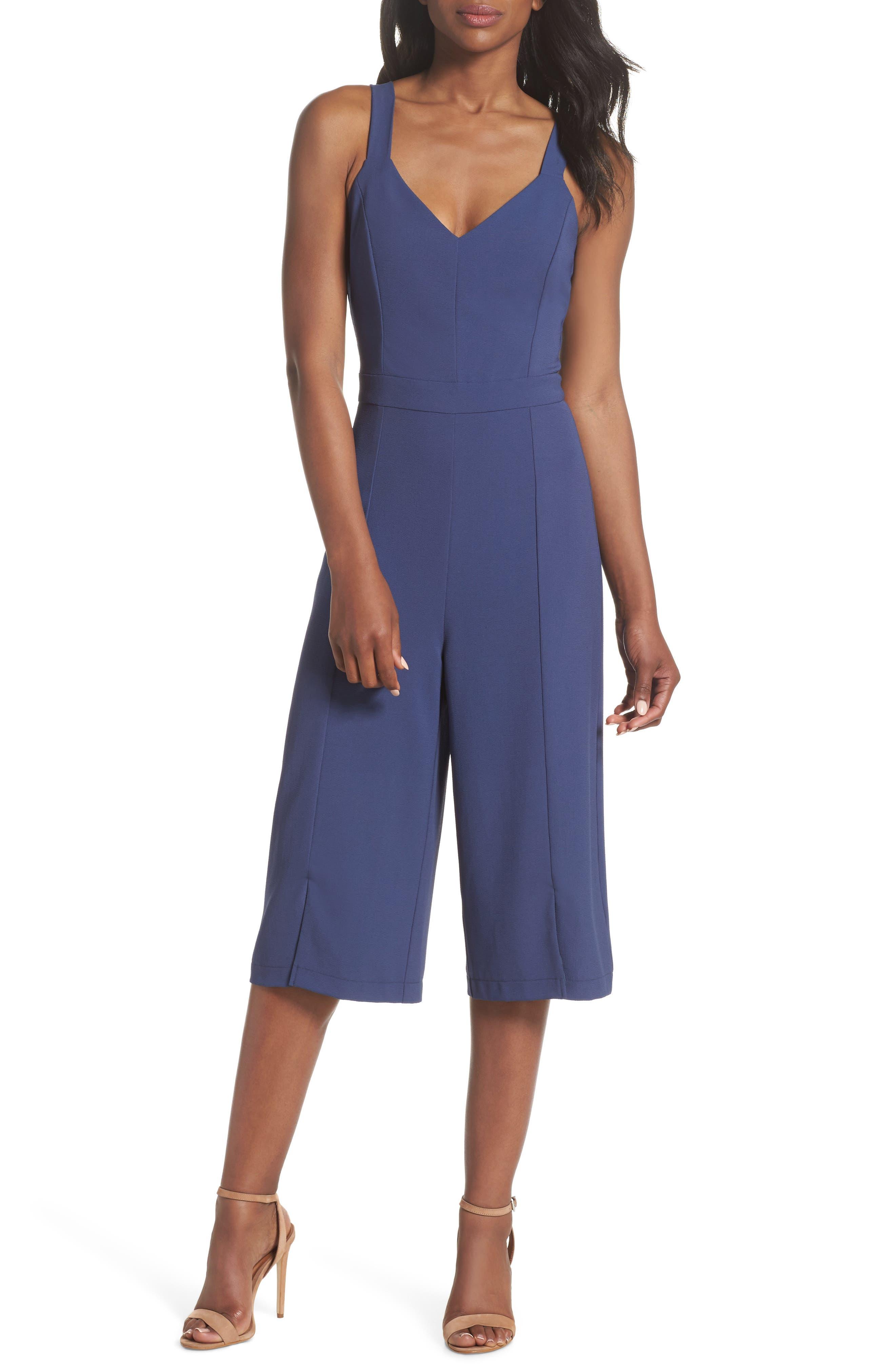 V-Neck Tie Back Jumpsuit,                         Main,                         color, Denim Blue