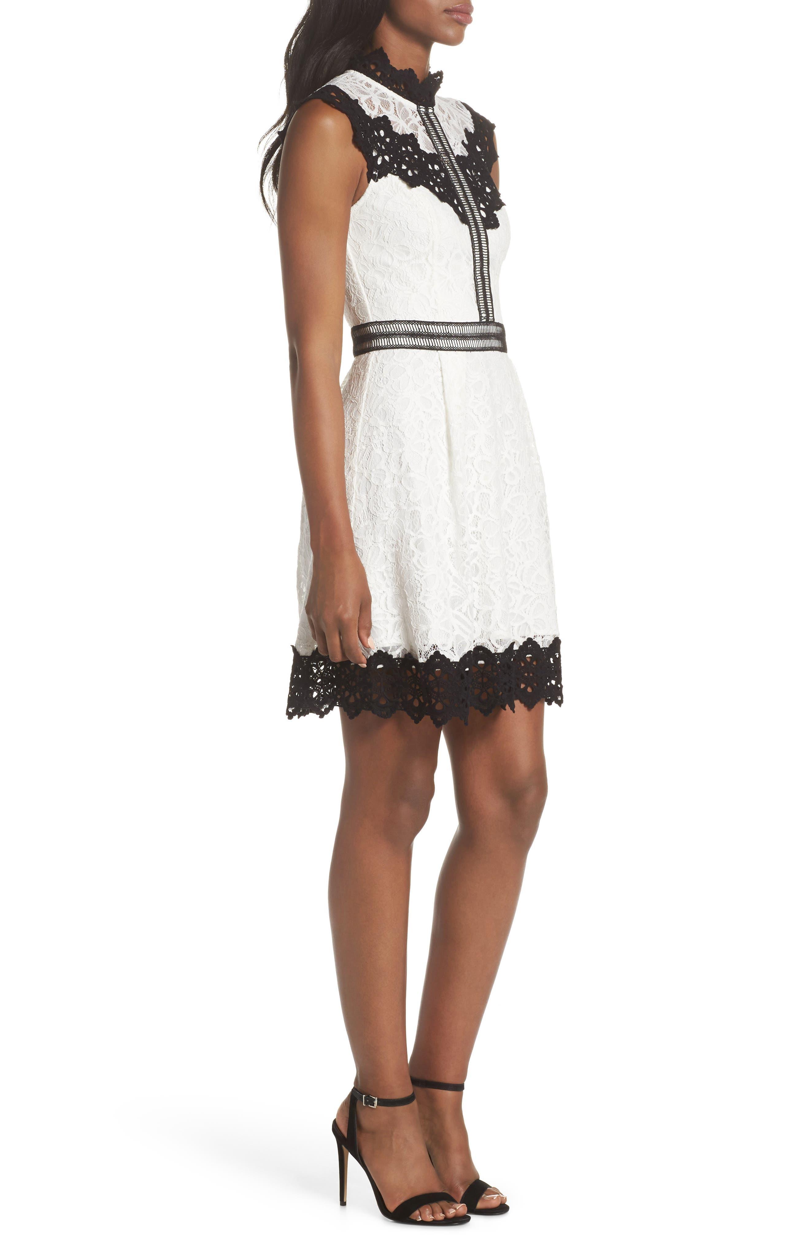 Hilda Fit & Flare Dress,                             Alternate thumbnail 3, color,                             White/ Black