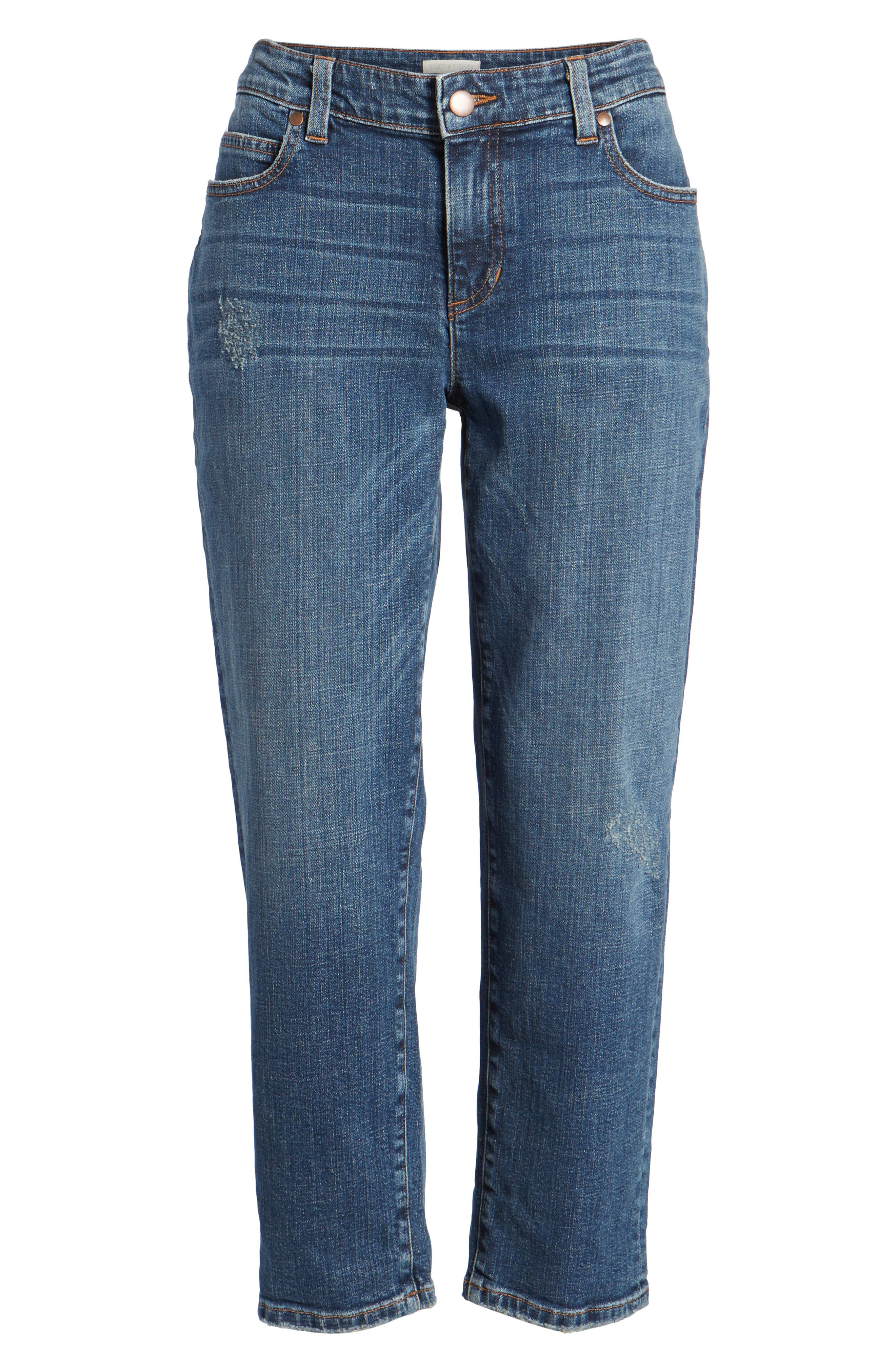 Tapered Stretch Organic Cotton Crop Jeans,                             Alternate thumbnail 7, color,                             Abraded Aged Indigo