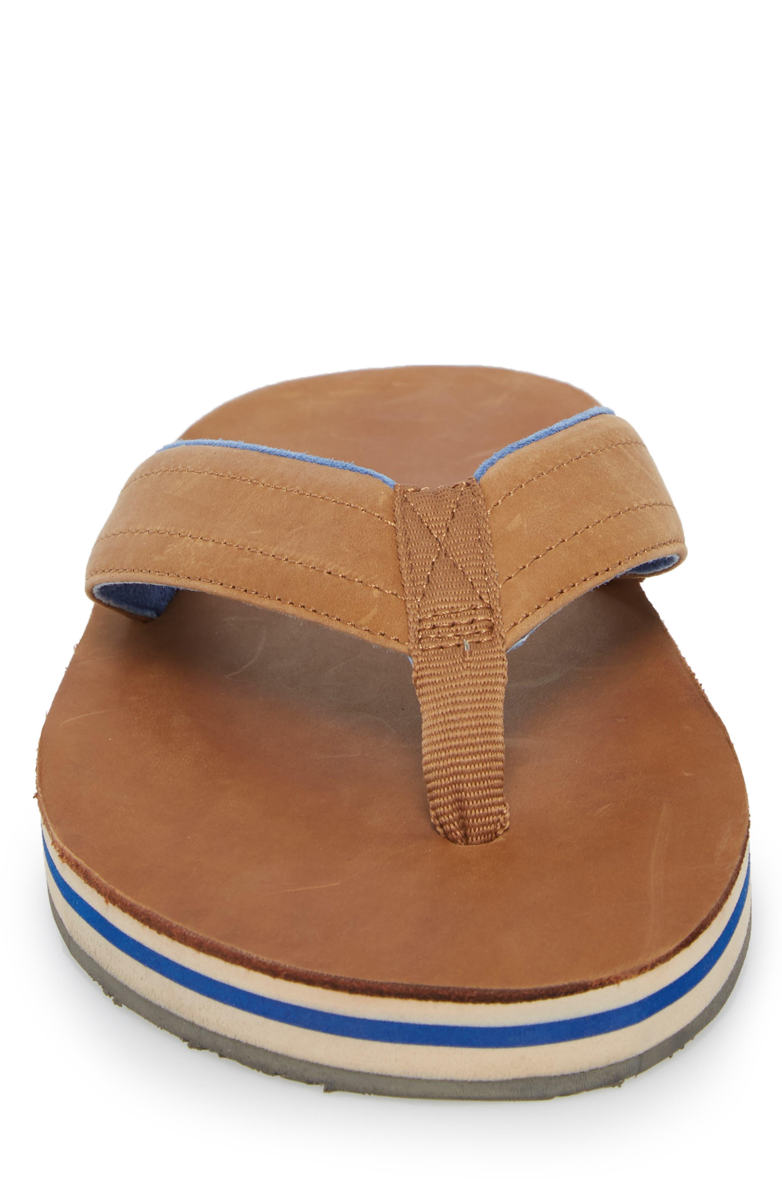Lakes Sandwich Stripe Flip Flop,                             Alternate thumbnail 4, color,                             Tan/ Navy Leather