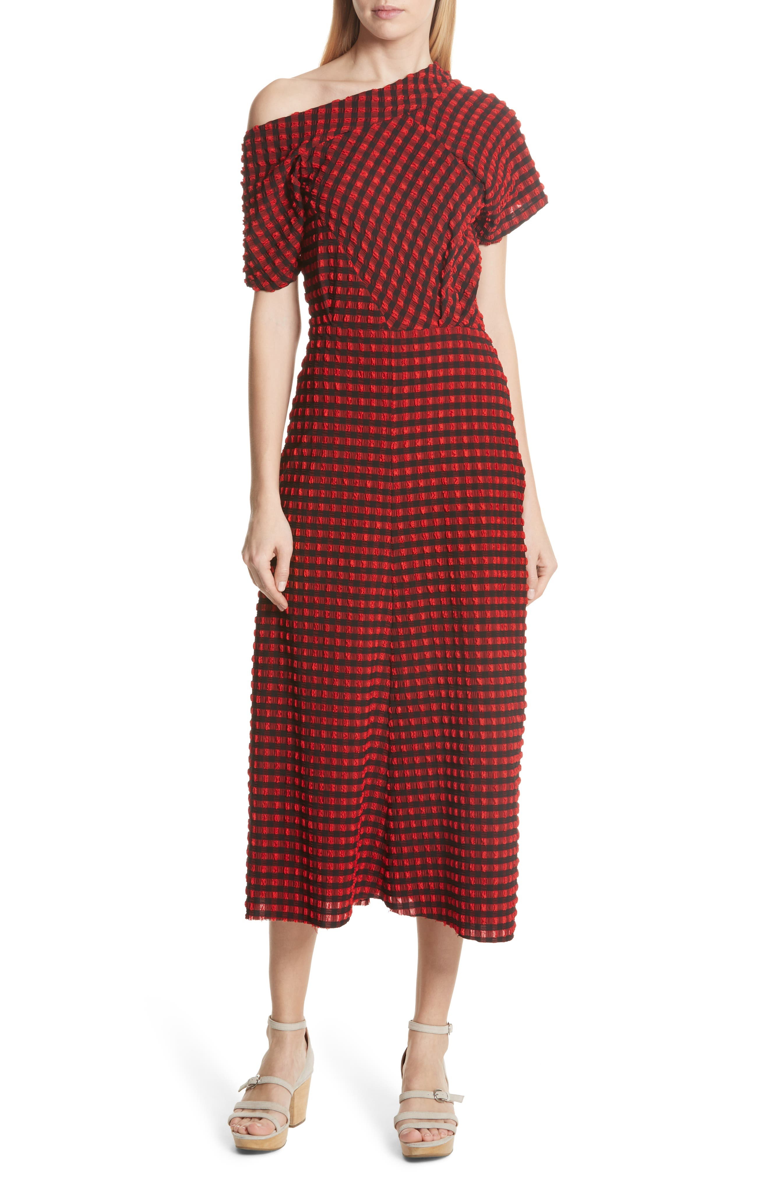 Pout Gingham One-Shoulder Midi Dress,                         Main,                         color, Red