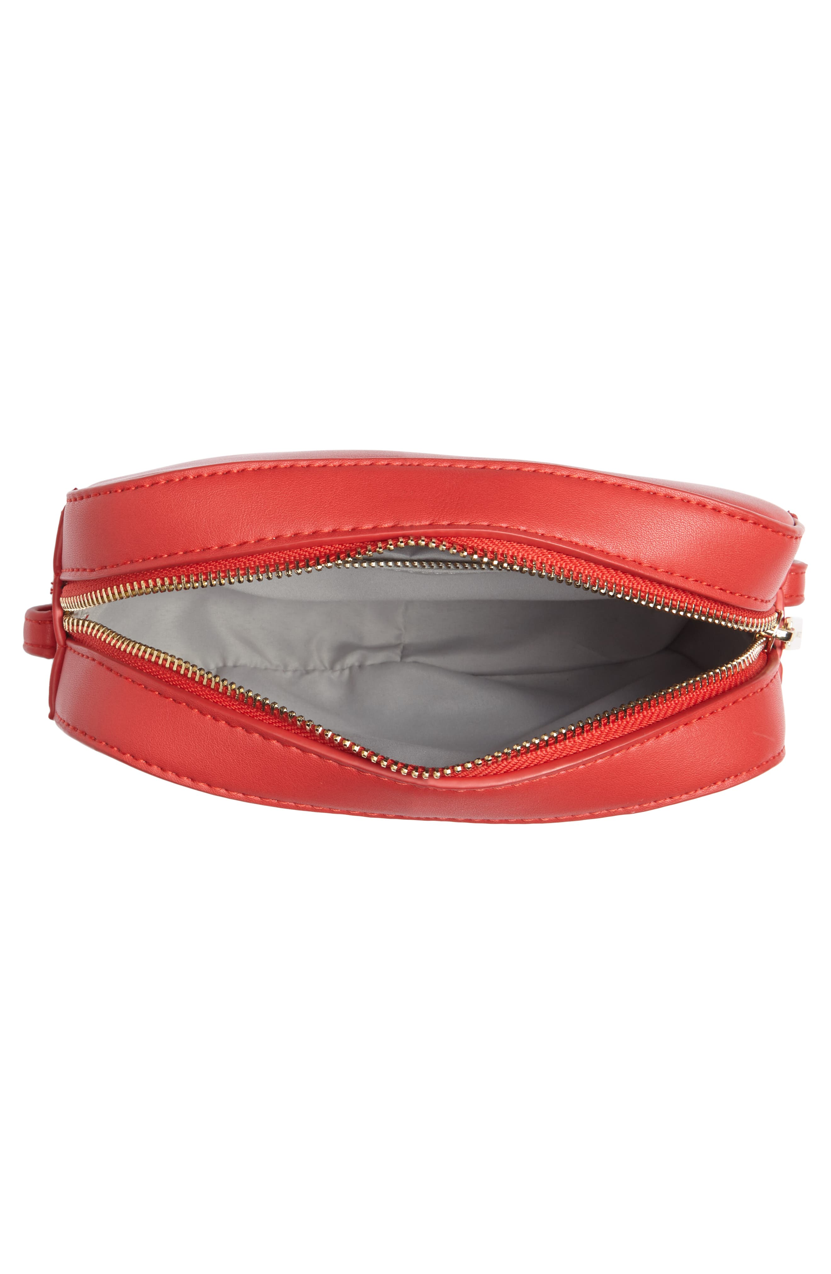 Faux Leather Box Bag,                             Alternate thumbnail 4, color,                             Red