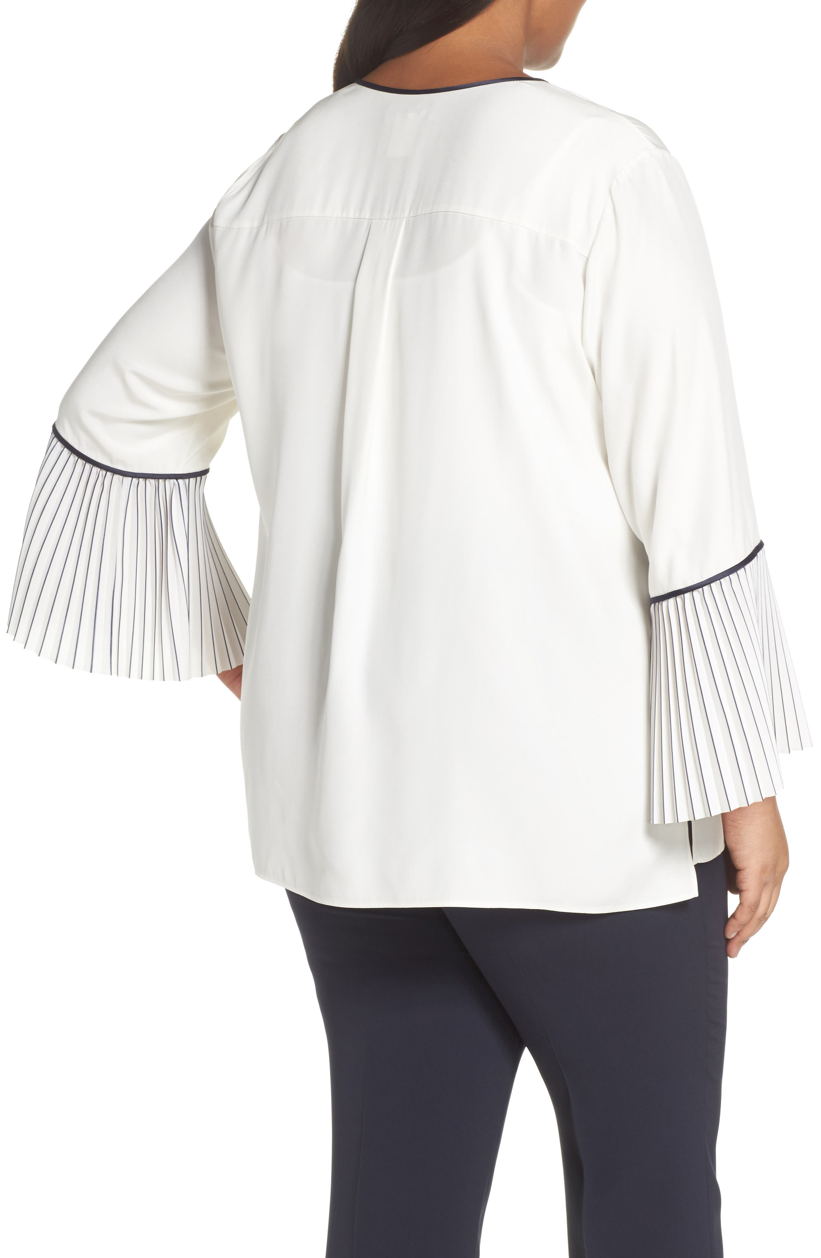Lafayette 148 Nemy Pleated Bell Sleeve Silk Blouse,                             Alternate thumbnail 2, color,                             Cloud