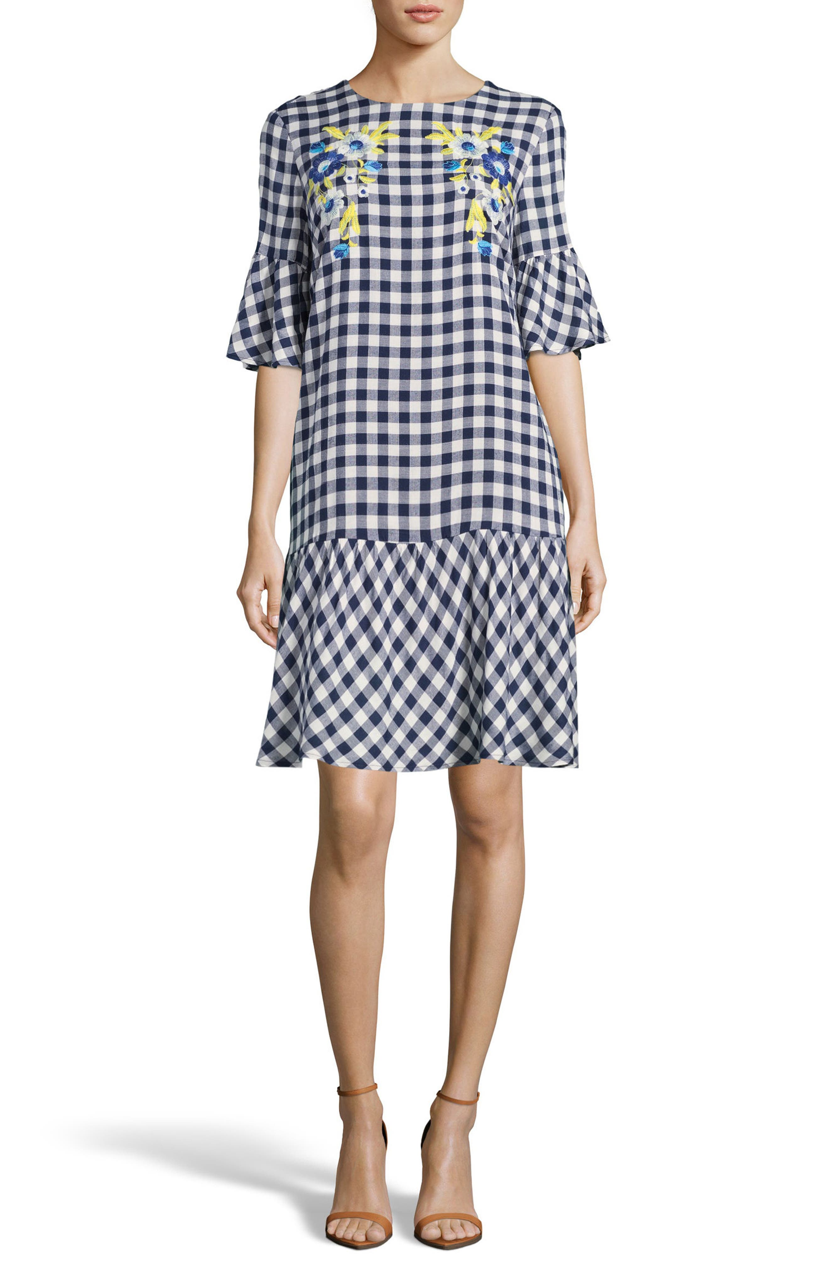 Embroidered Checker Shift Dress,                             Main thumbnail 1, color,                             Navy/ White