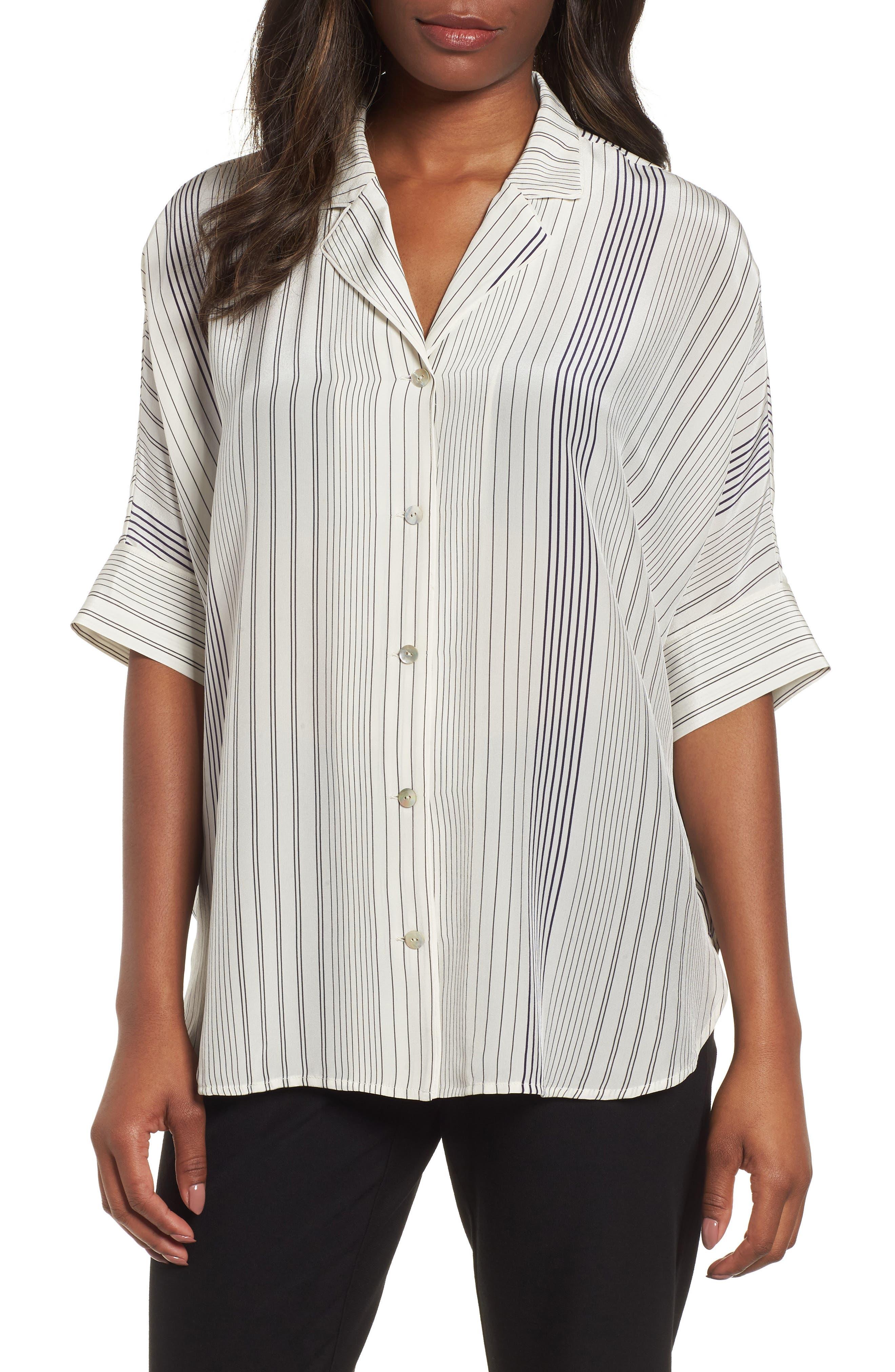 Stripe Silk Shirt,                         Main,                         color, Bone