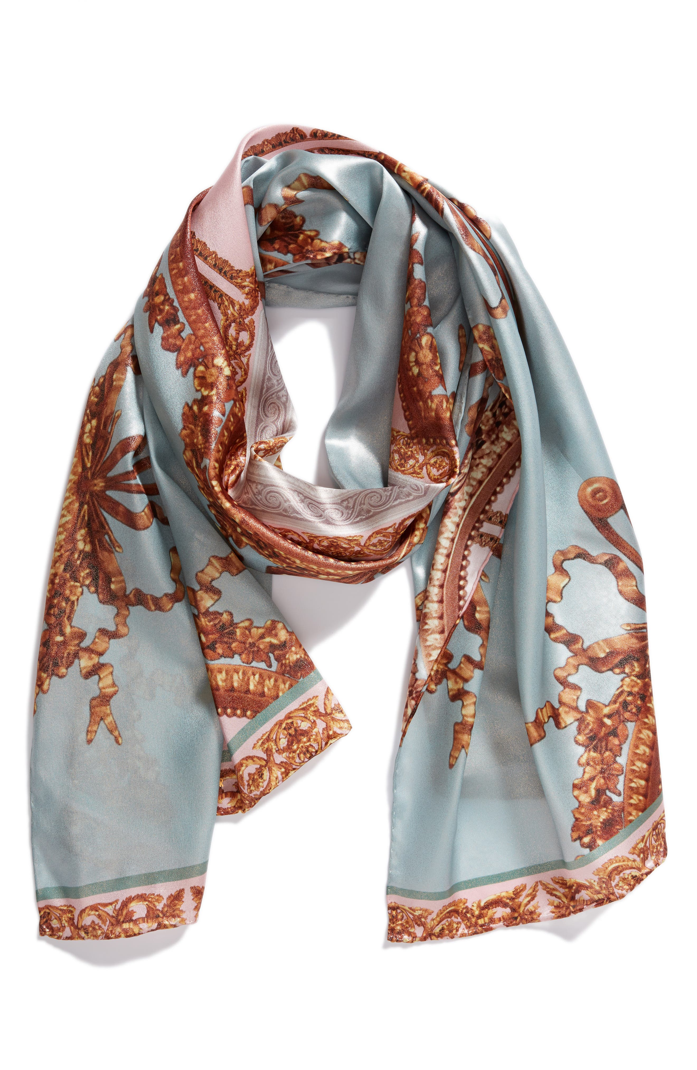 Versailles Silk Scarf,                             Alternate thumbnail 2, color,                             Teal