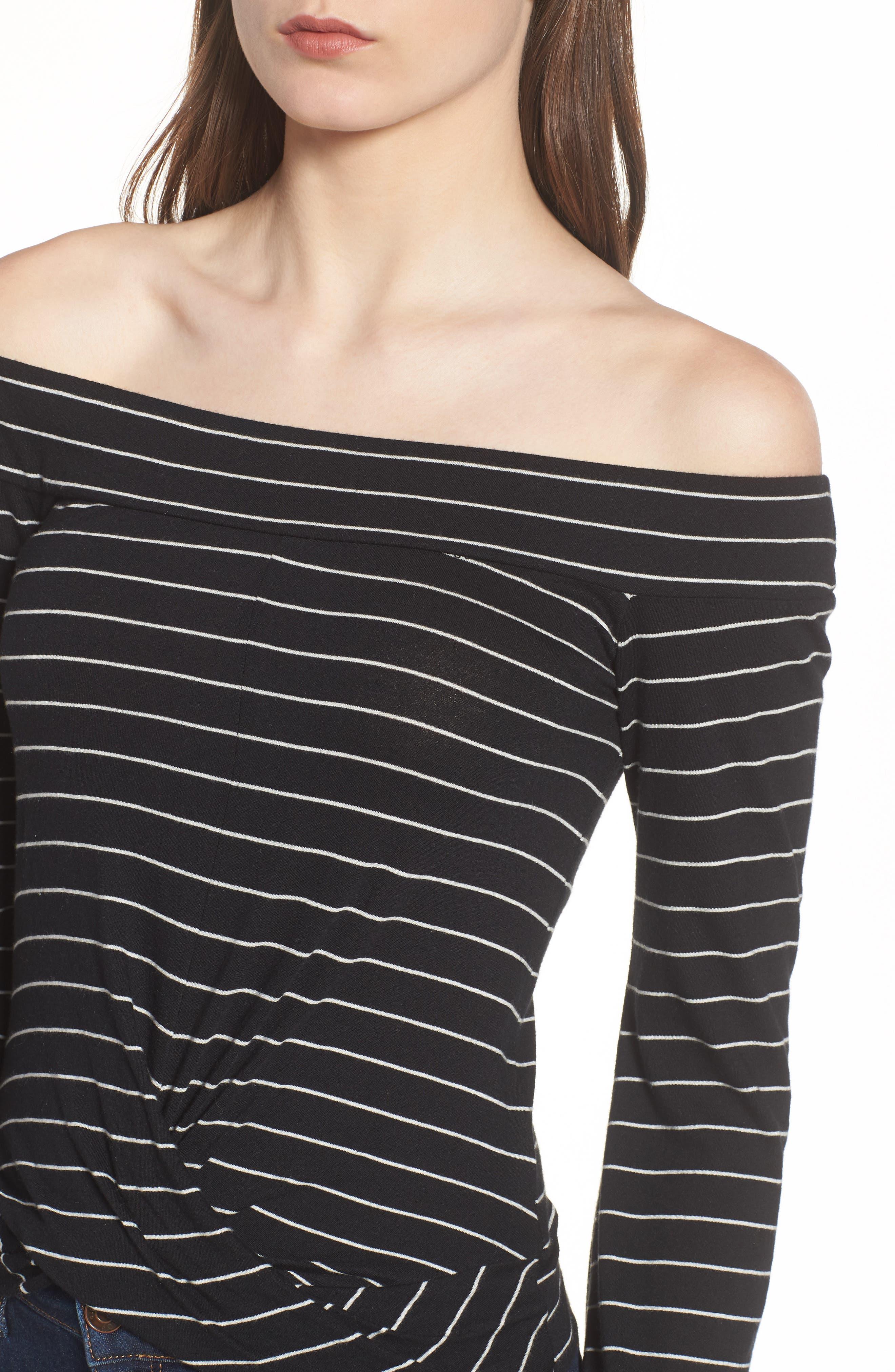 Stripe Twist Front Off the Shoulder Top,                             Alternate thumbnail 4, color,                             Black Jess Strp