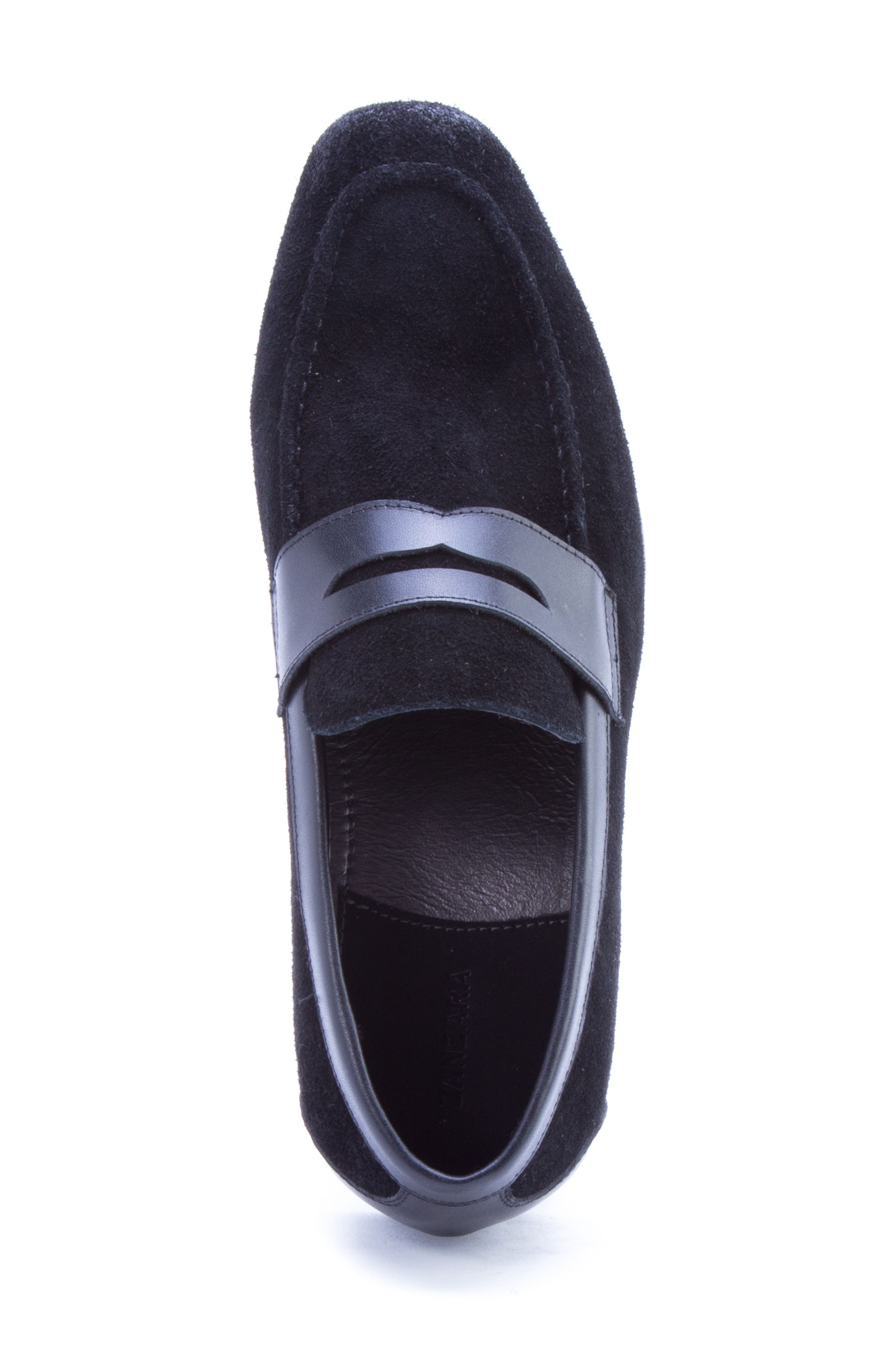 Siena Penny Loafer,                             Alternate thumbnail 5, color,                             Black Suede/ Leather
