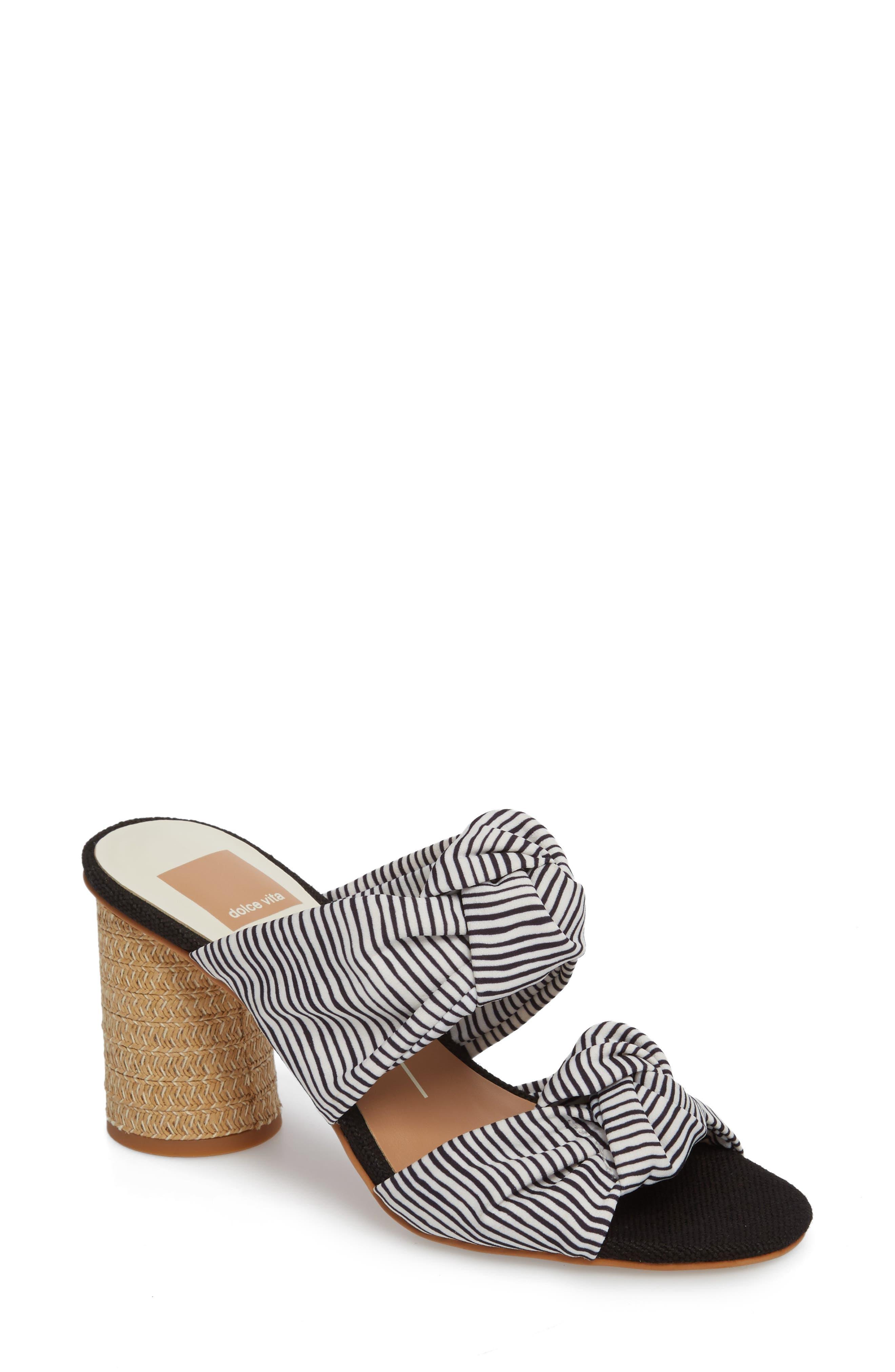 Jene Double Knot Sandal,                         Main,                         color, White Stripe