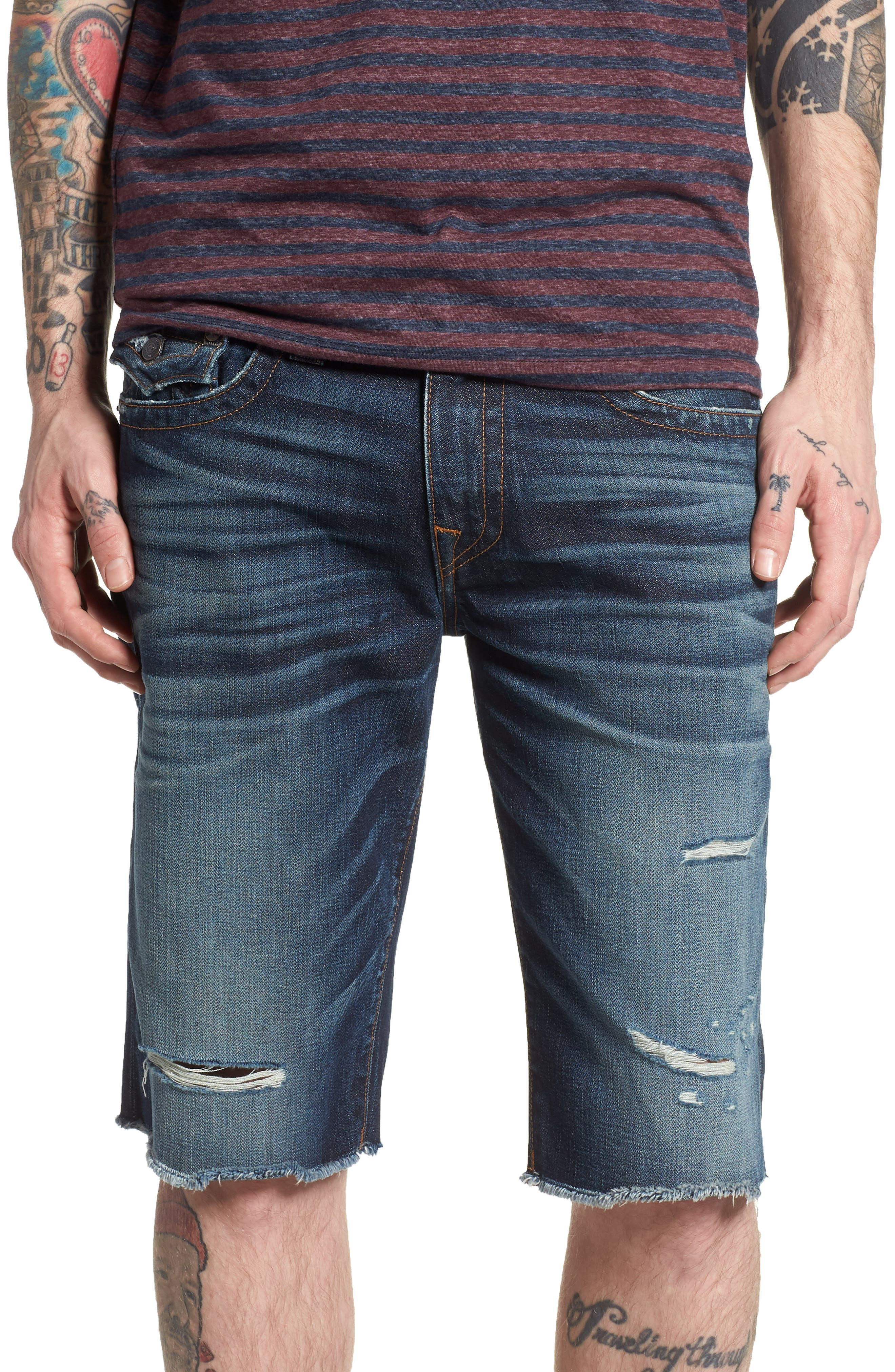 True Religion Brand Jeans Ricky Relaxed Fit Denim Shorts (Midnight Menace)