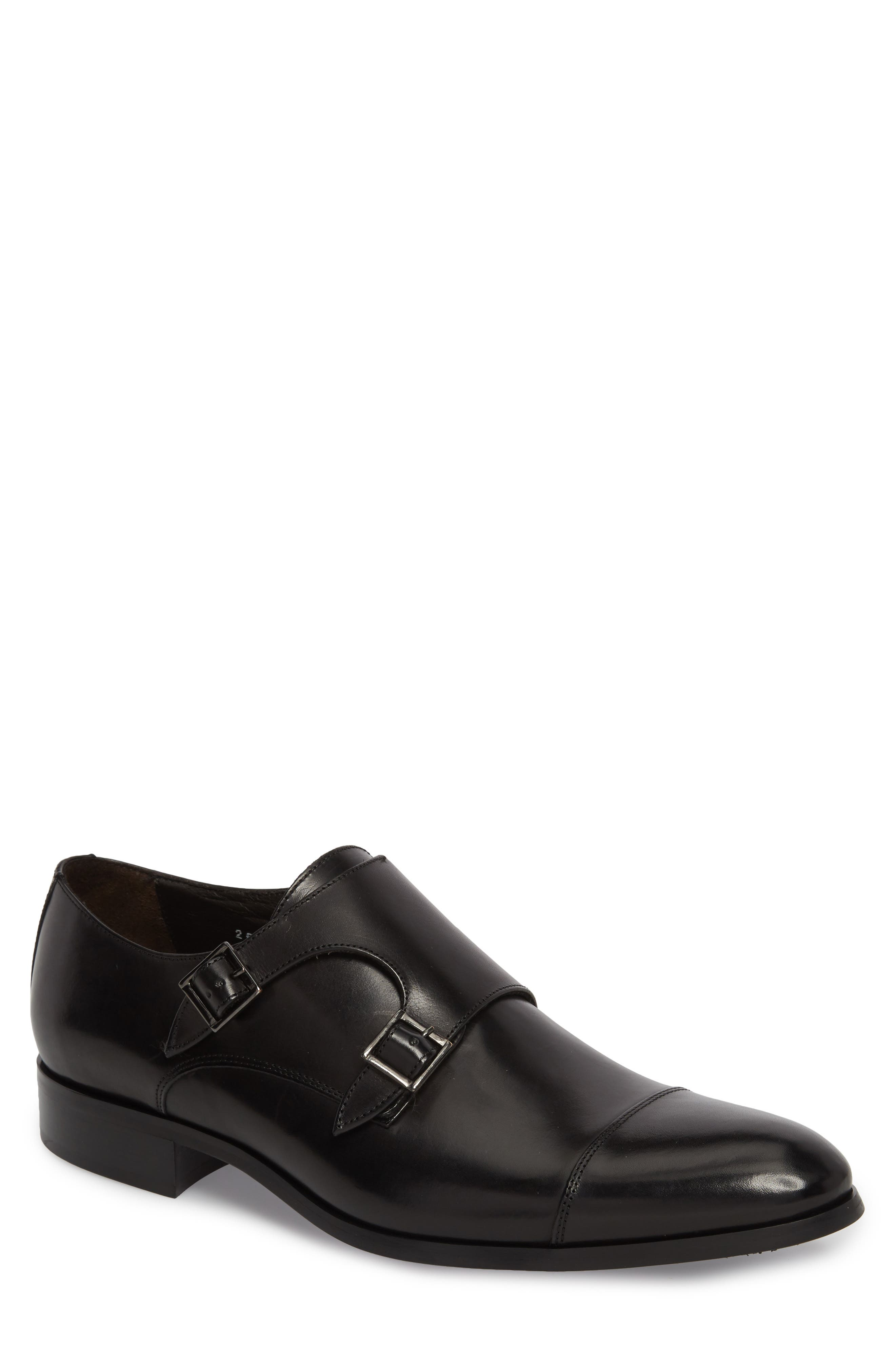 Bankston Cap Toe Double Strap Monk Shoe in Black Leather