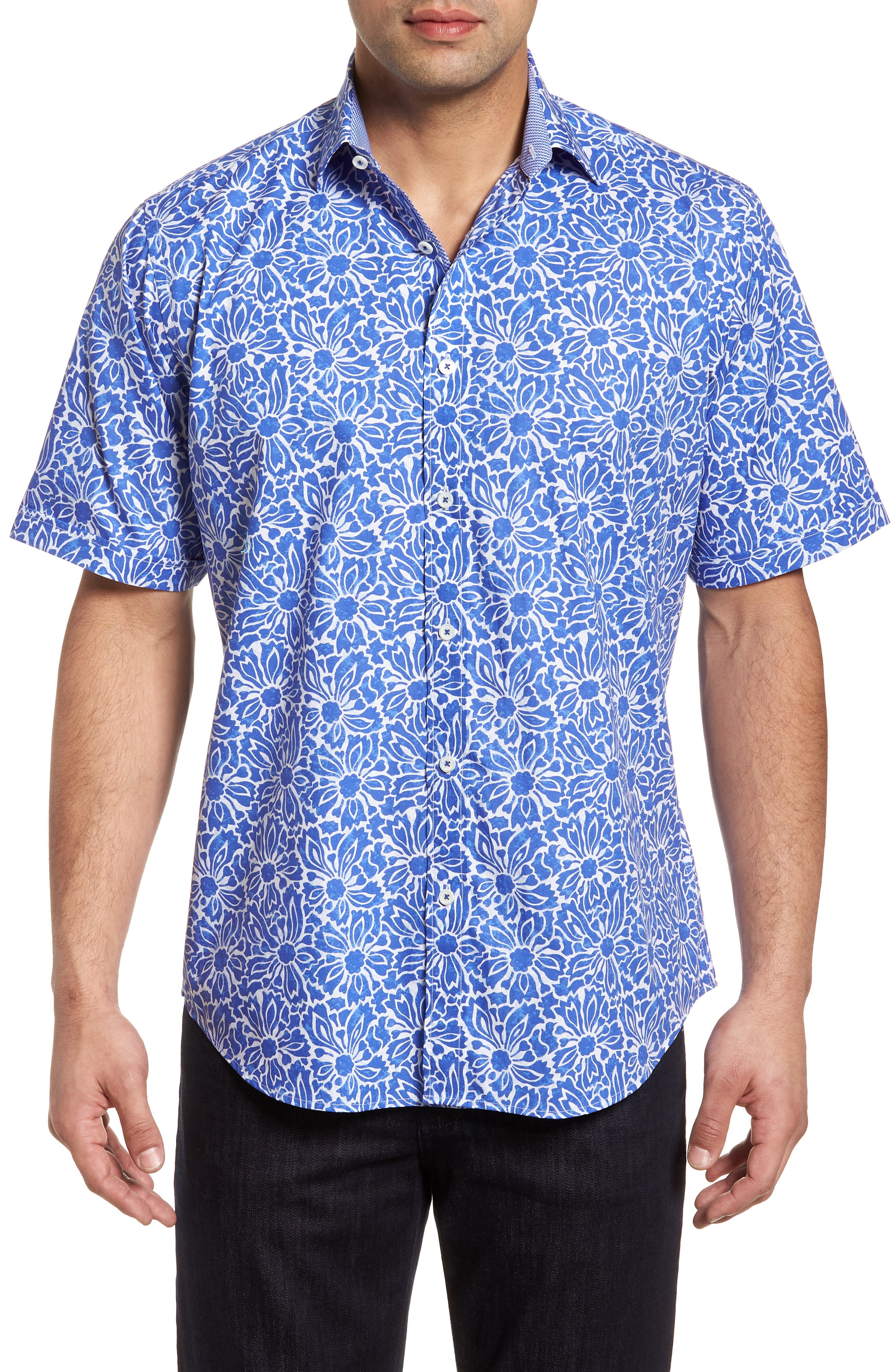 Classic Fit Floral Sport Shirt,                         Main,                         color, Royal