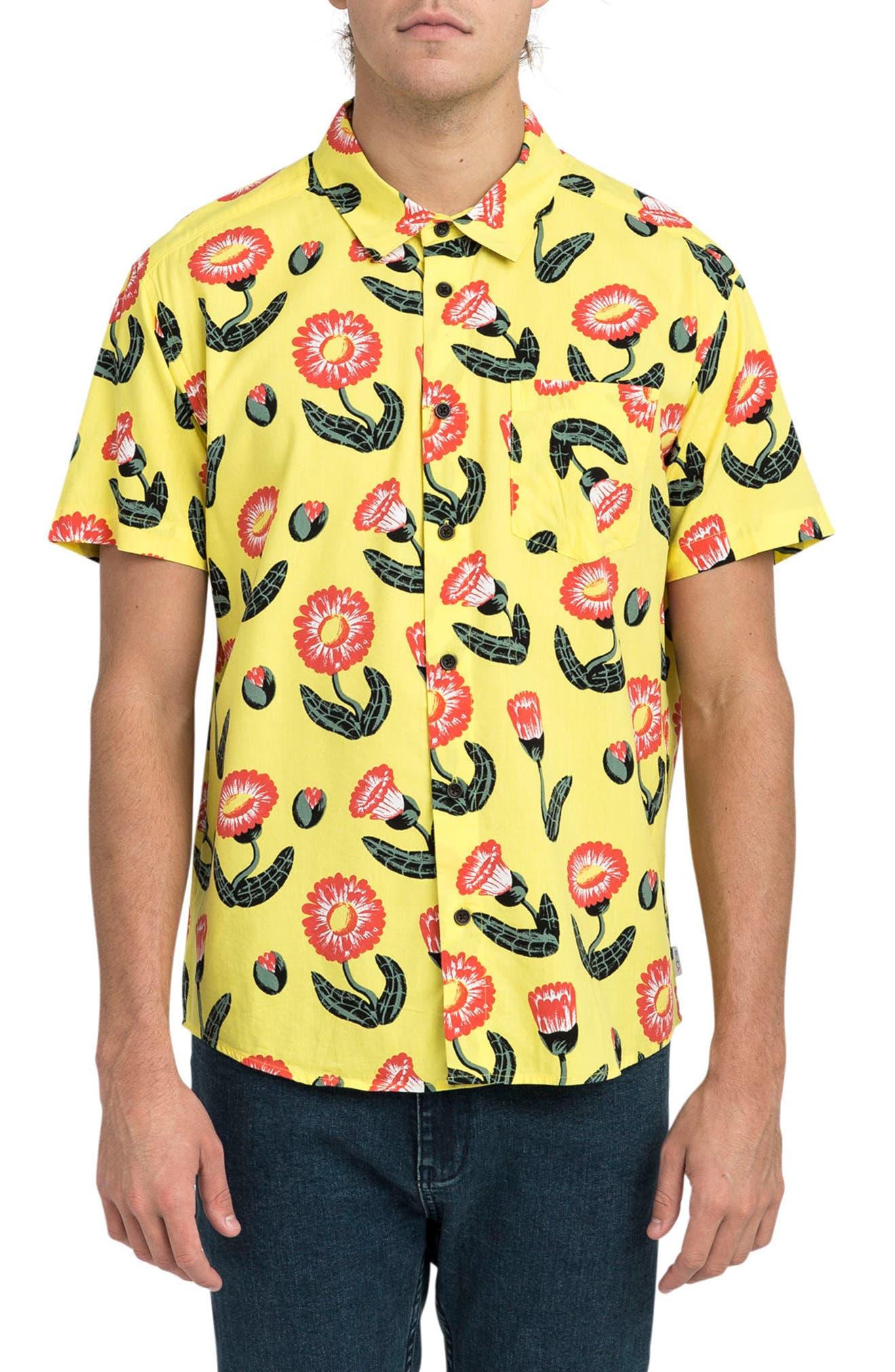 Pelletier Tropic Short Sleeve Shirt,                             Main thumbnail 1, color,                             Yellow