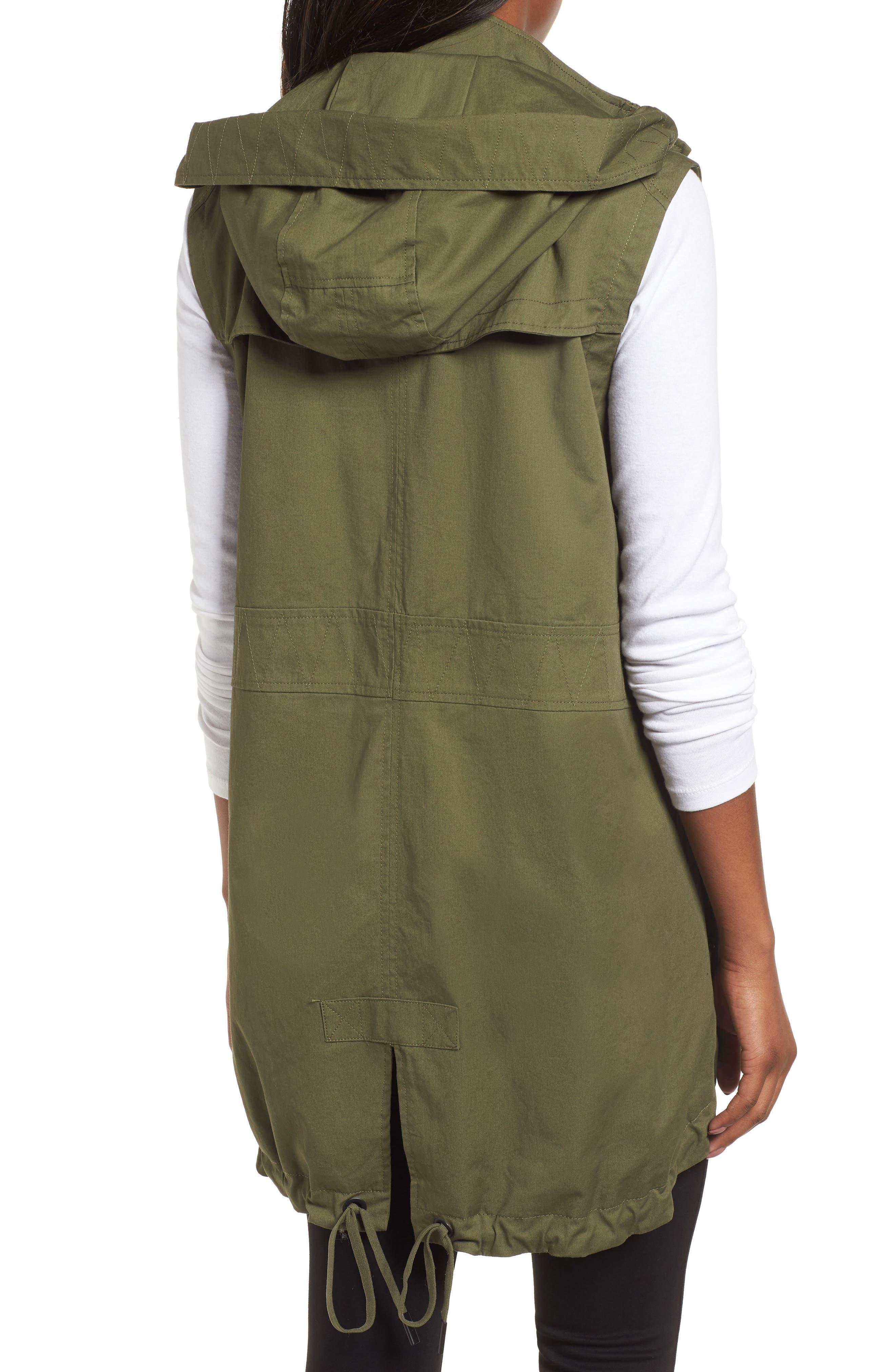 Elongated Hooded Vest,                             Alternate thumbnail 2, color,                             Loden