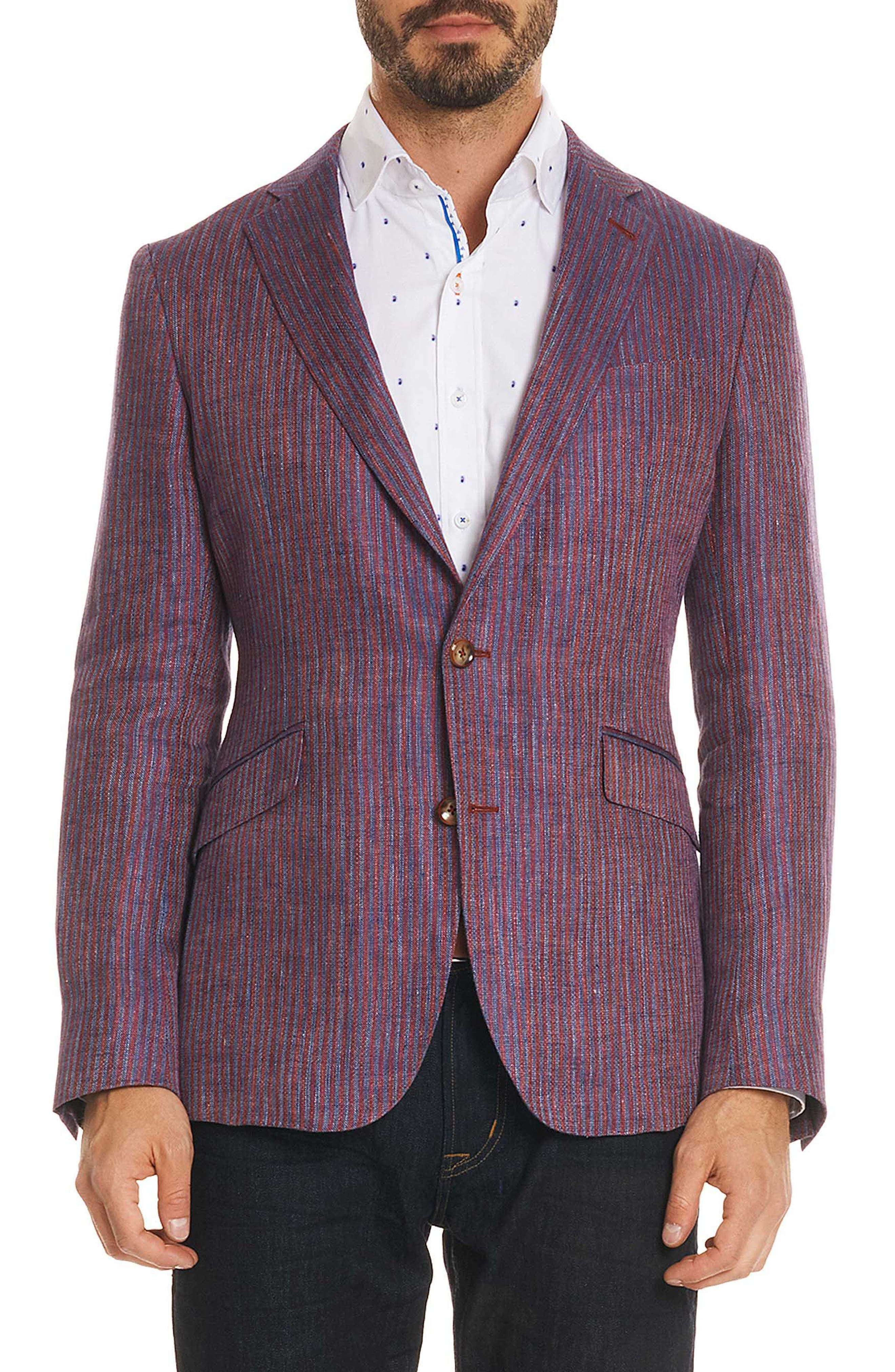 Corbett Tailored Fit Stripe Linen Sport Coat,                             Main thumbnail 1, color,                             Berry