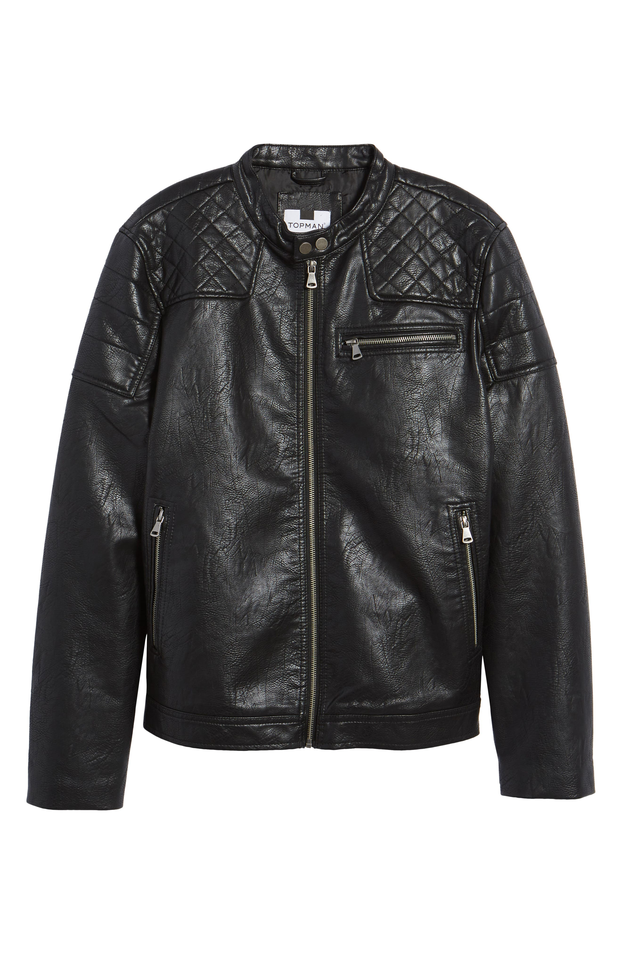 Washed Faux Leather Racer Jacket,                             Alternate thumbnail 6, color,                             Black