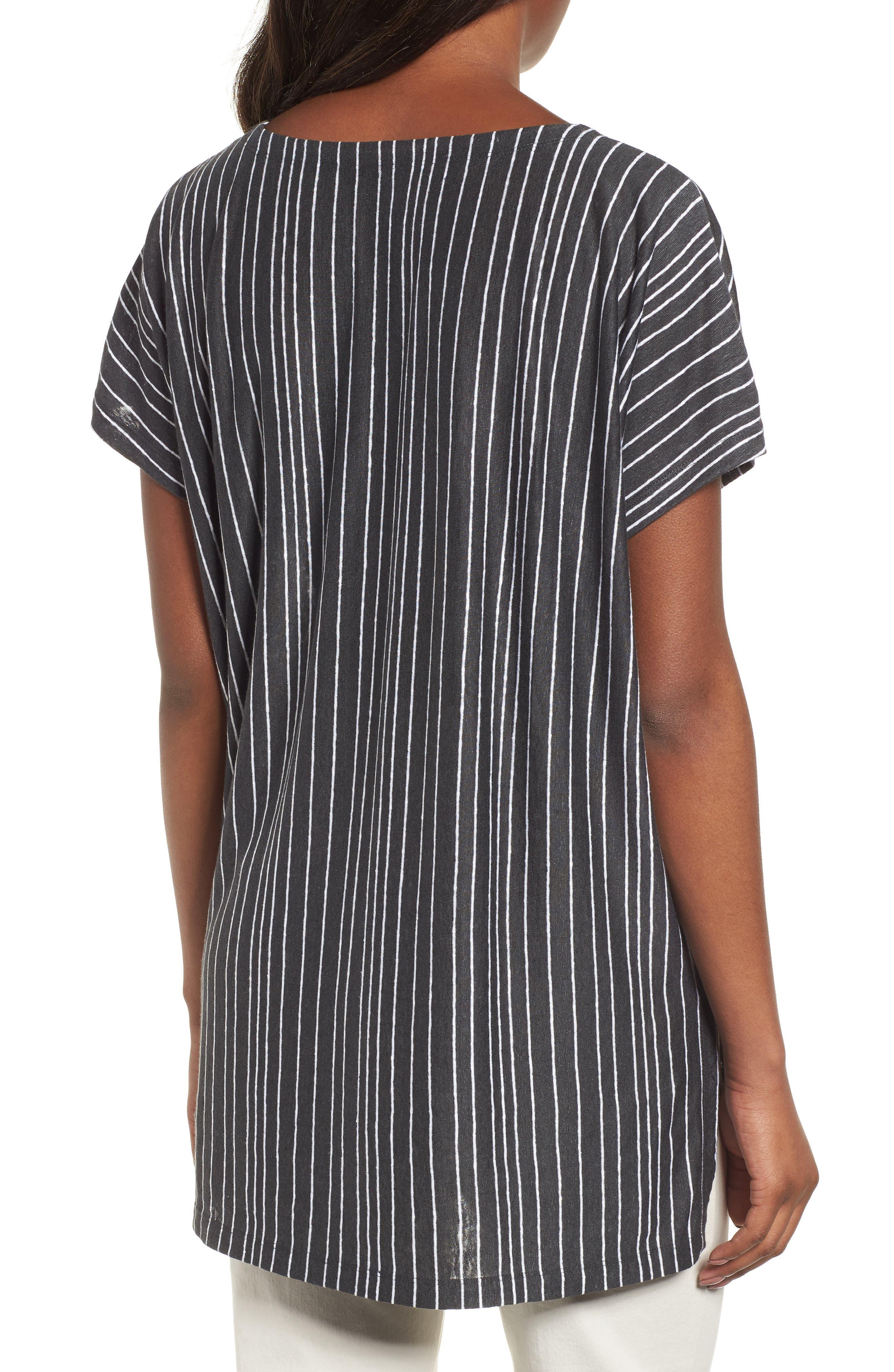Stripe Organic Linen Tunic,                             Alternate thumbnail 2, color,                             Graphite