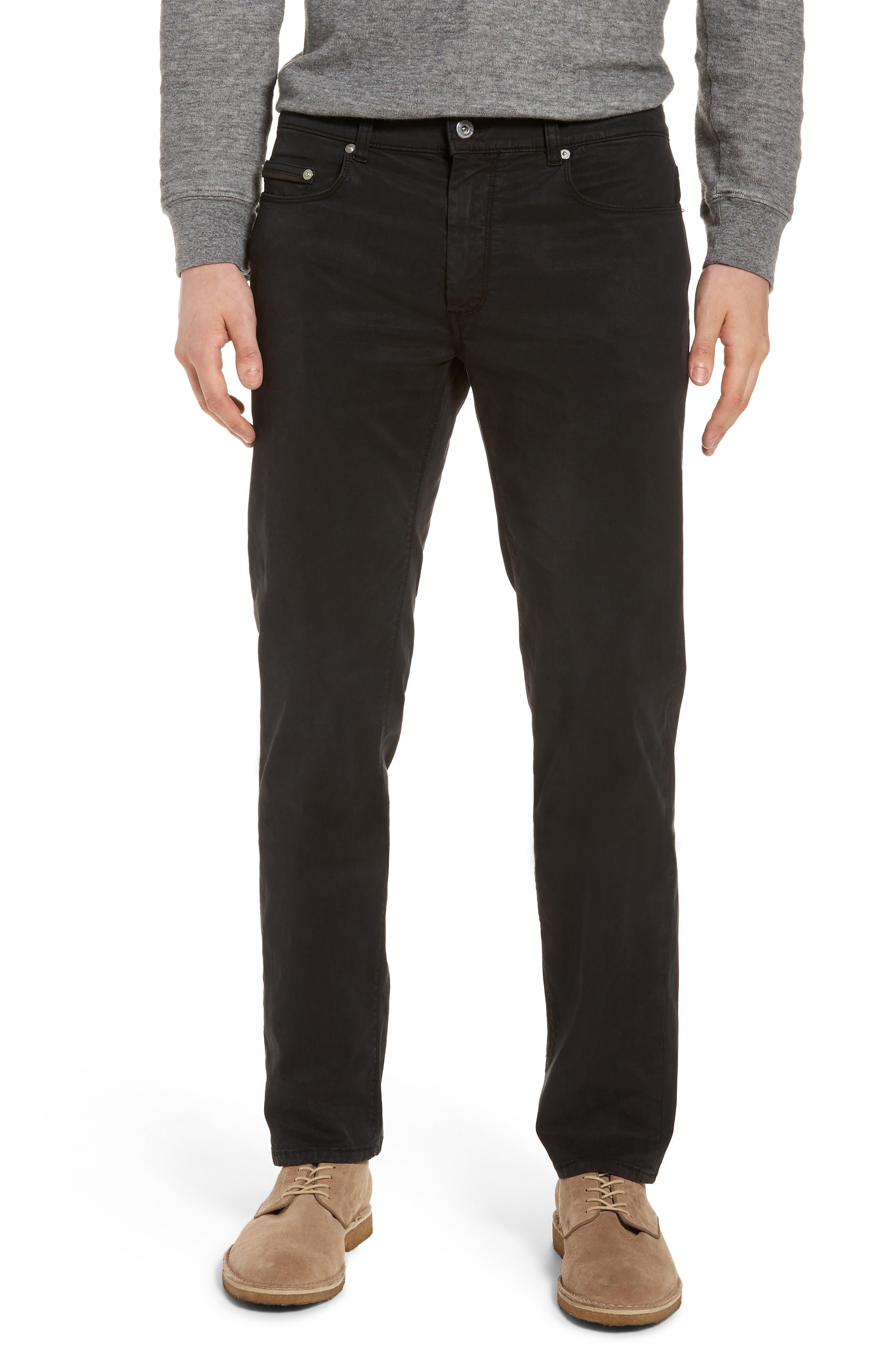 Slim Fit Washed Five-Pocket Pants,                         Main,                         color, Black