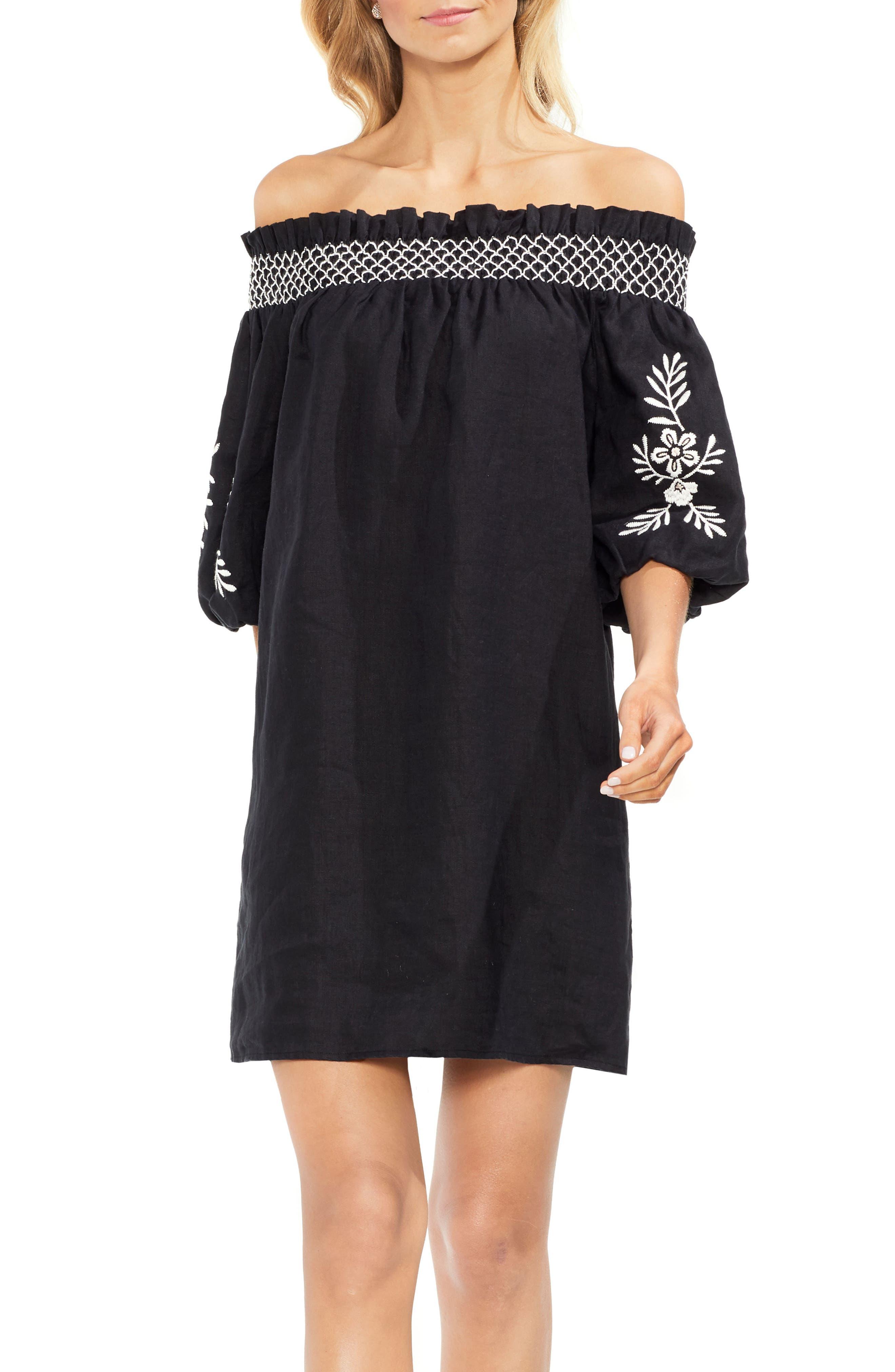 2986ea0a464 VINCE CAMUTO OFF THE SHOULDER LINEN SHIFT DRESS