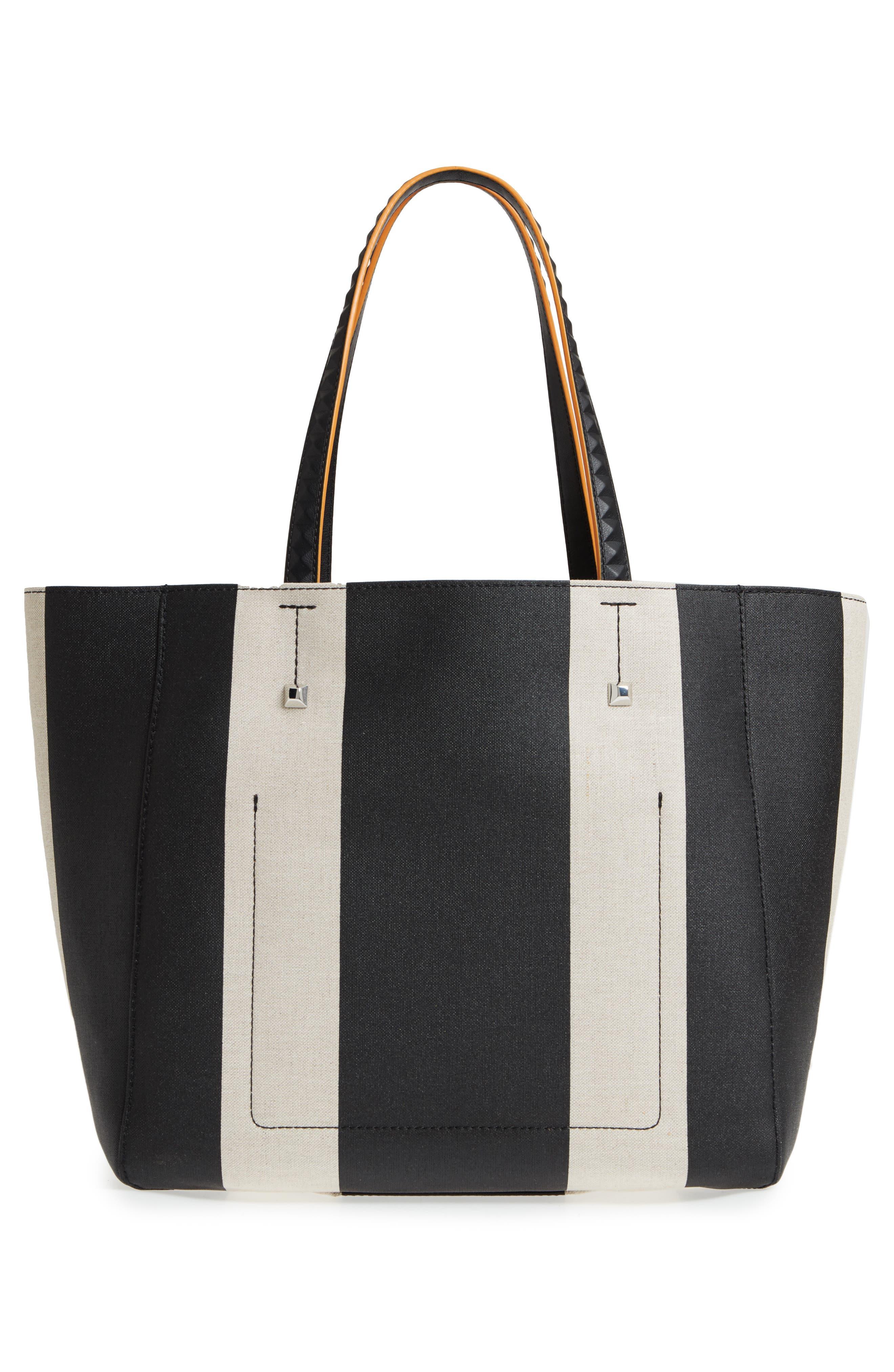 Ilse Medium East/West Stripe Canvas Shopper,                             Alternate thumbnail 3, color,                             Black