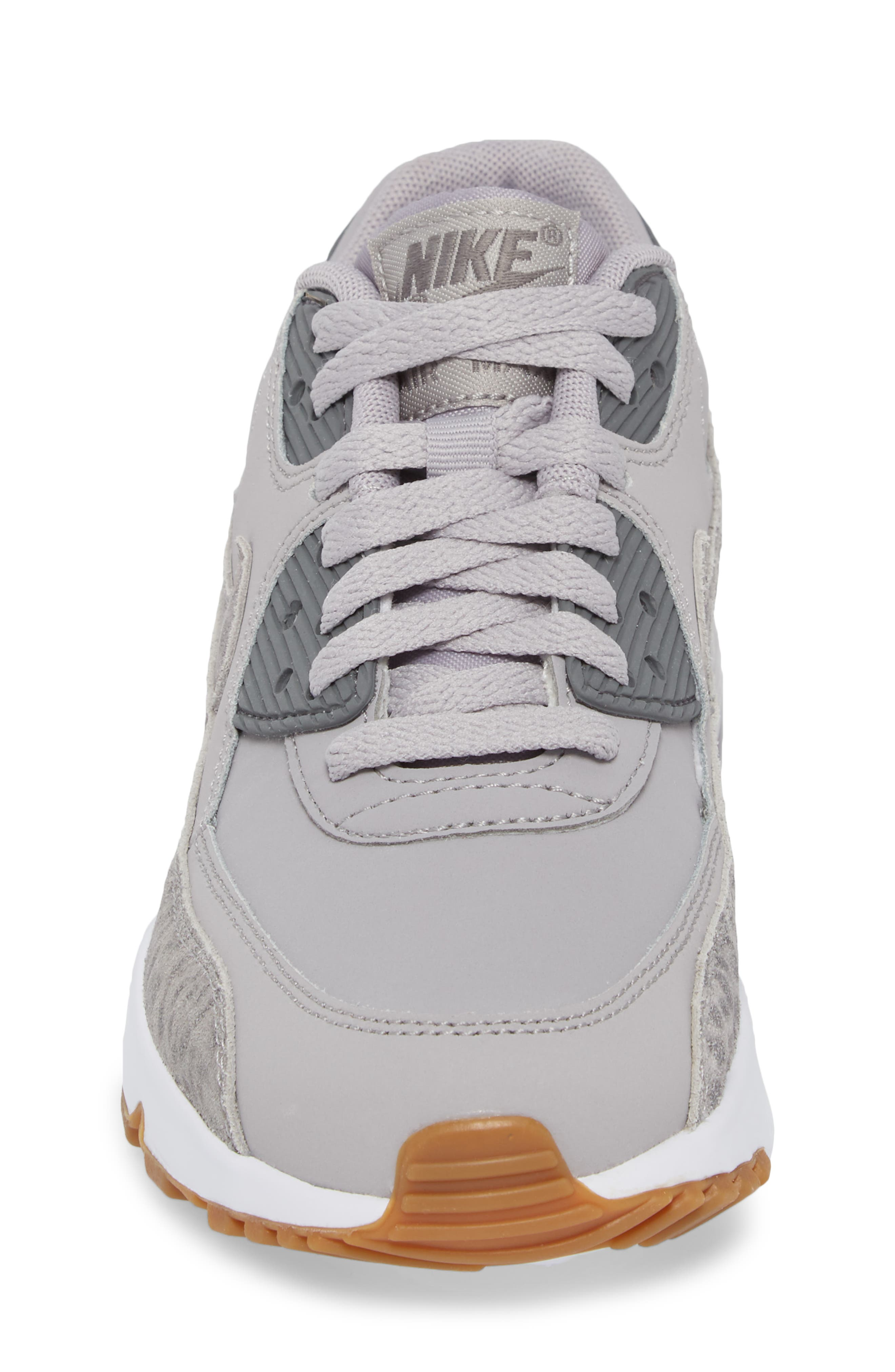 Air Max 90 Leather Sneaker,                             Alternate thumbnail 4, color,                             Atmosphere Grey/ Smoke/ White