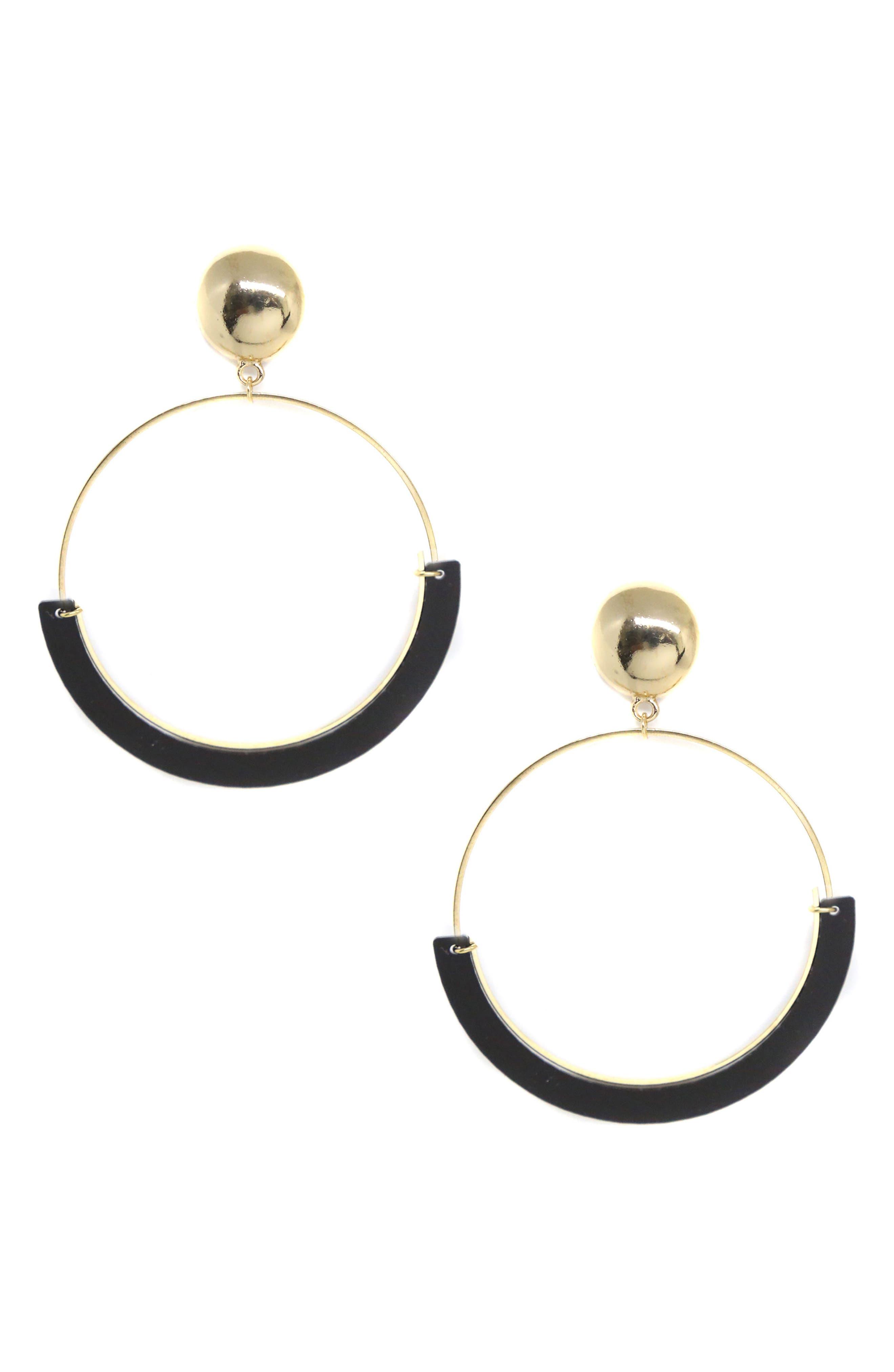 Gold Wire & Resin Hoop Earrings,                         Main,                         color, Black