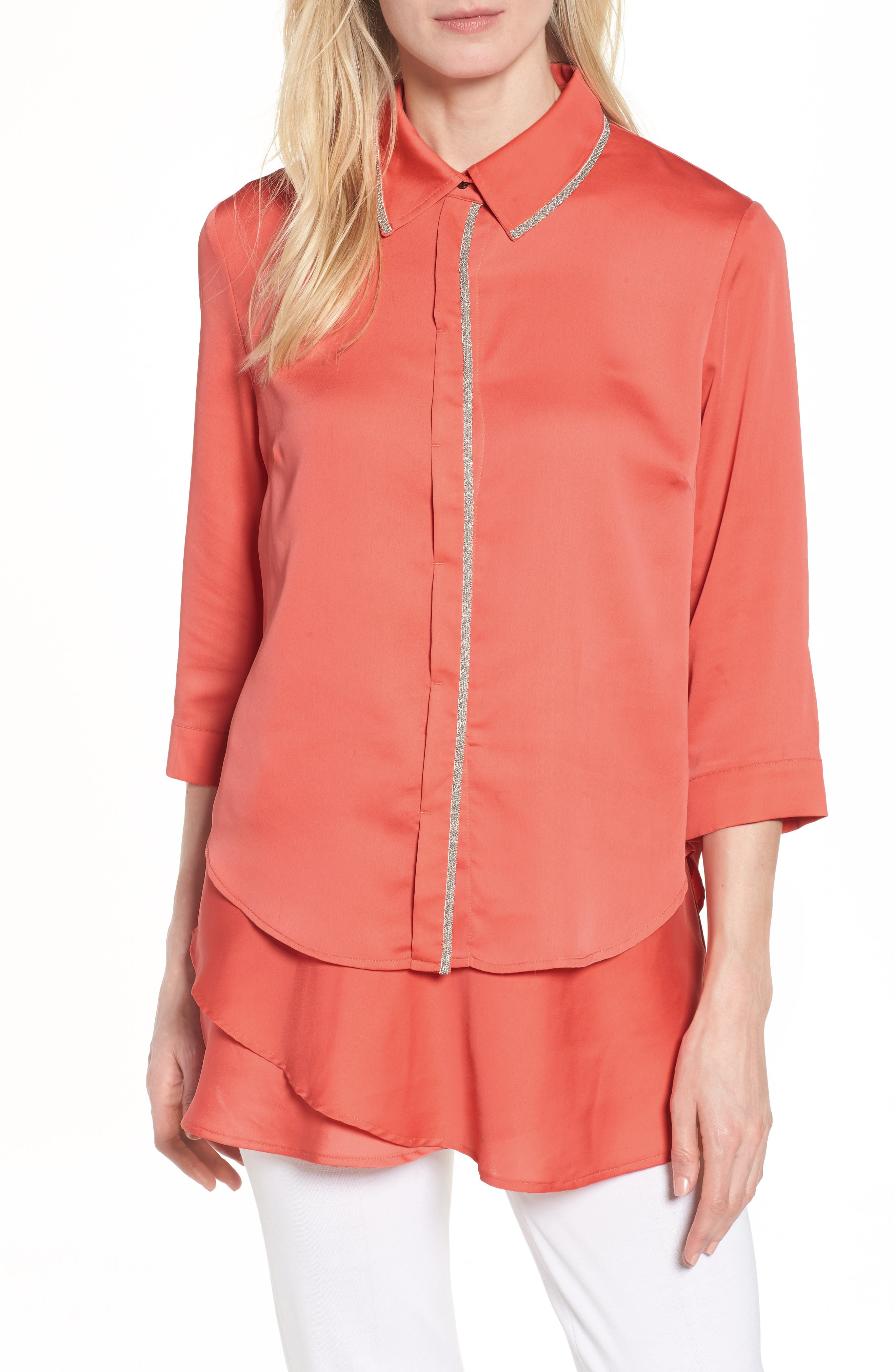 Tiered Tunic Shirt,                         Main,                         color, Daylily