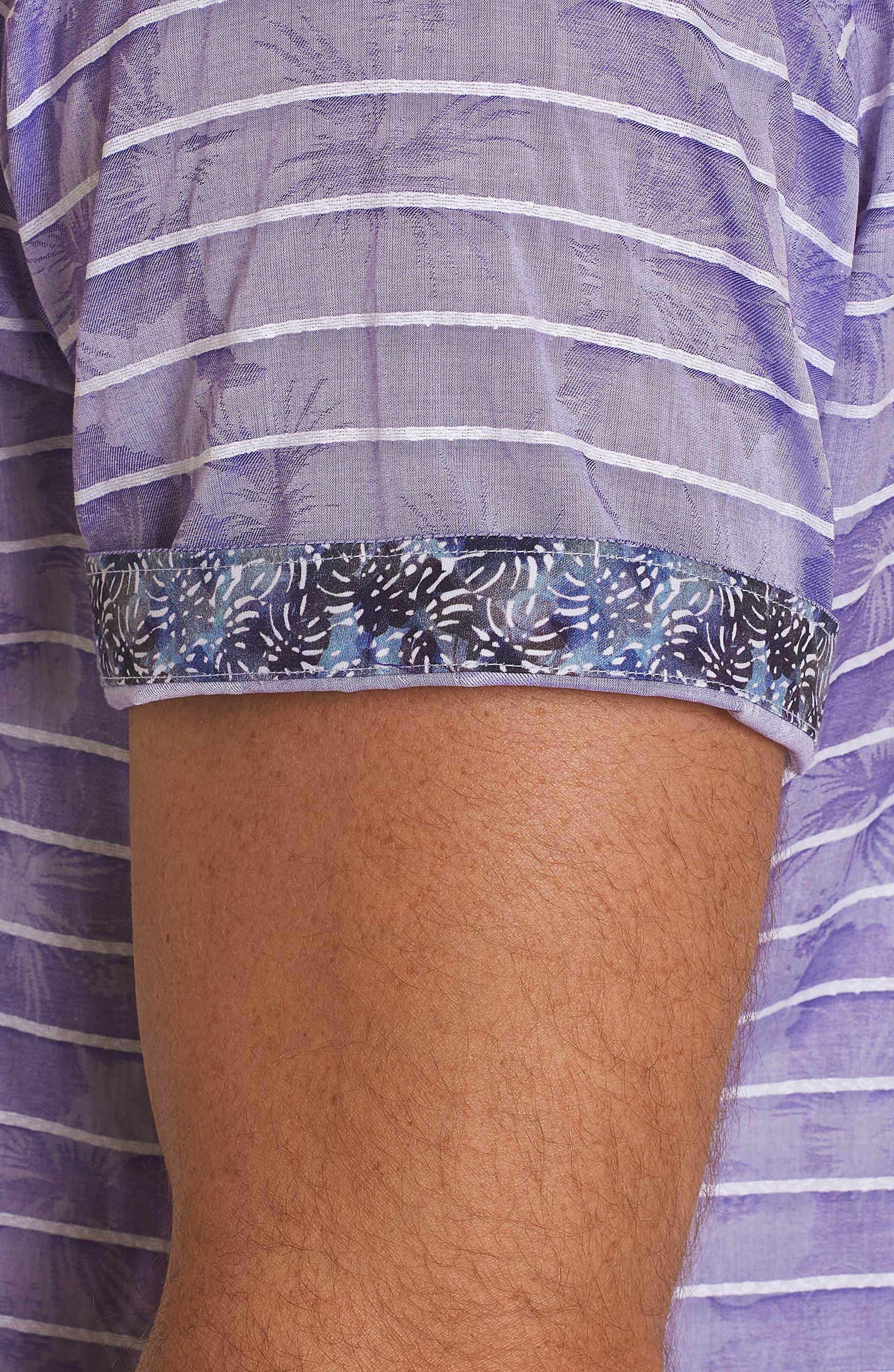 Avenida Classic Fit Jacquard Sport Shirt,                             Alternate thumbnail 5, color,                             Purple