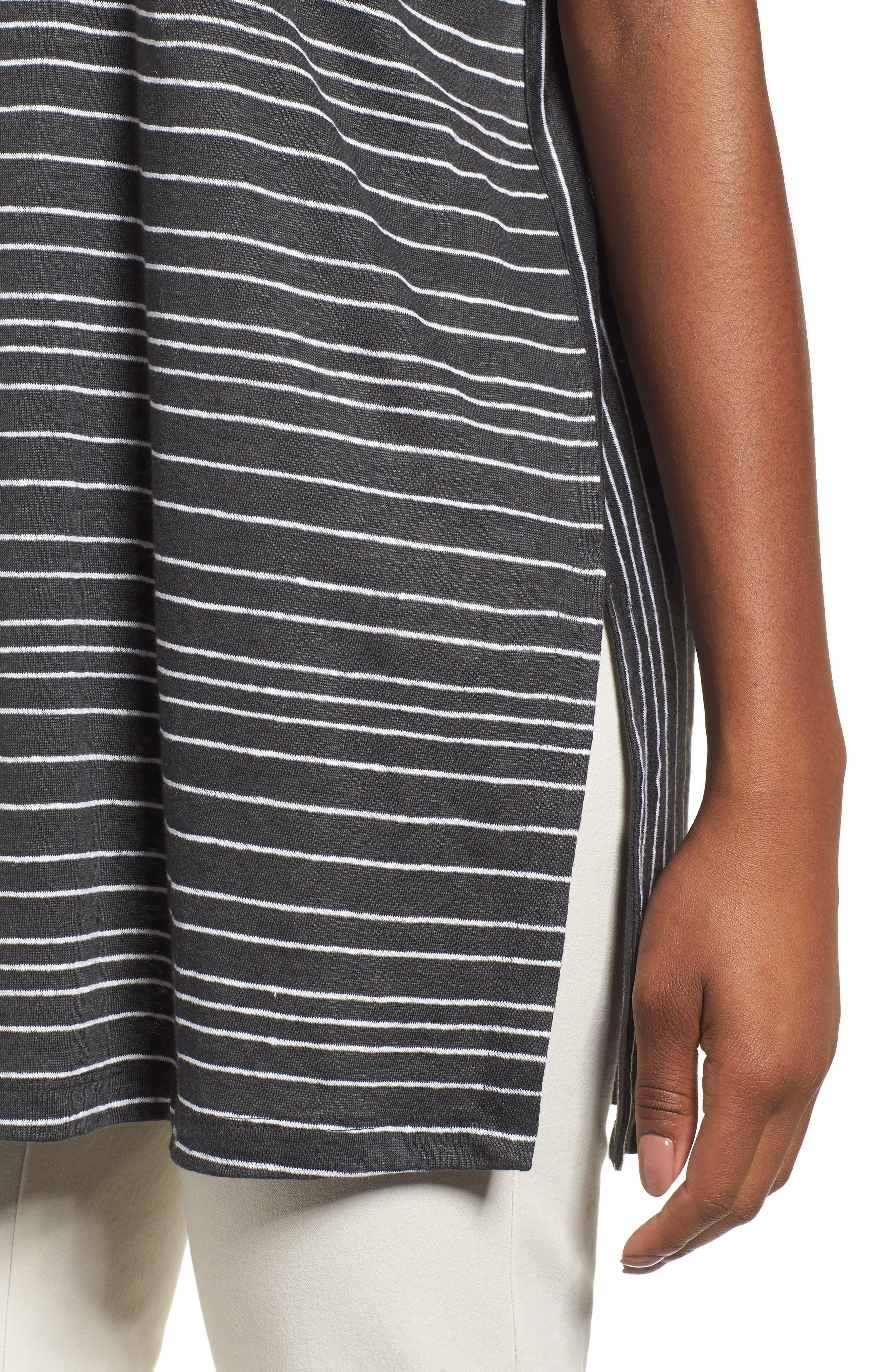 Stripe Organic Linen Tunic,                             Alternate thumbnail 4, color,                             Graphite