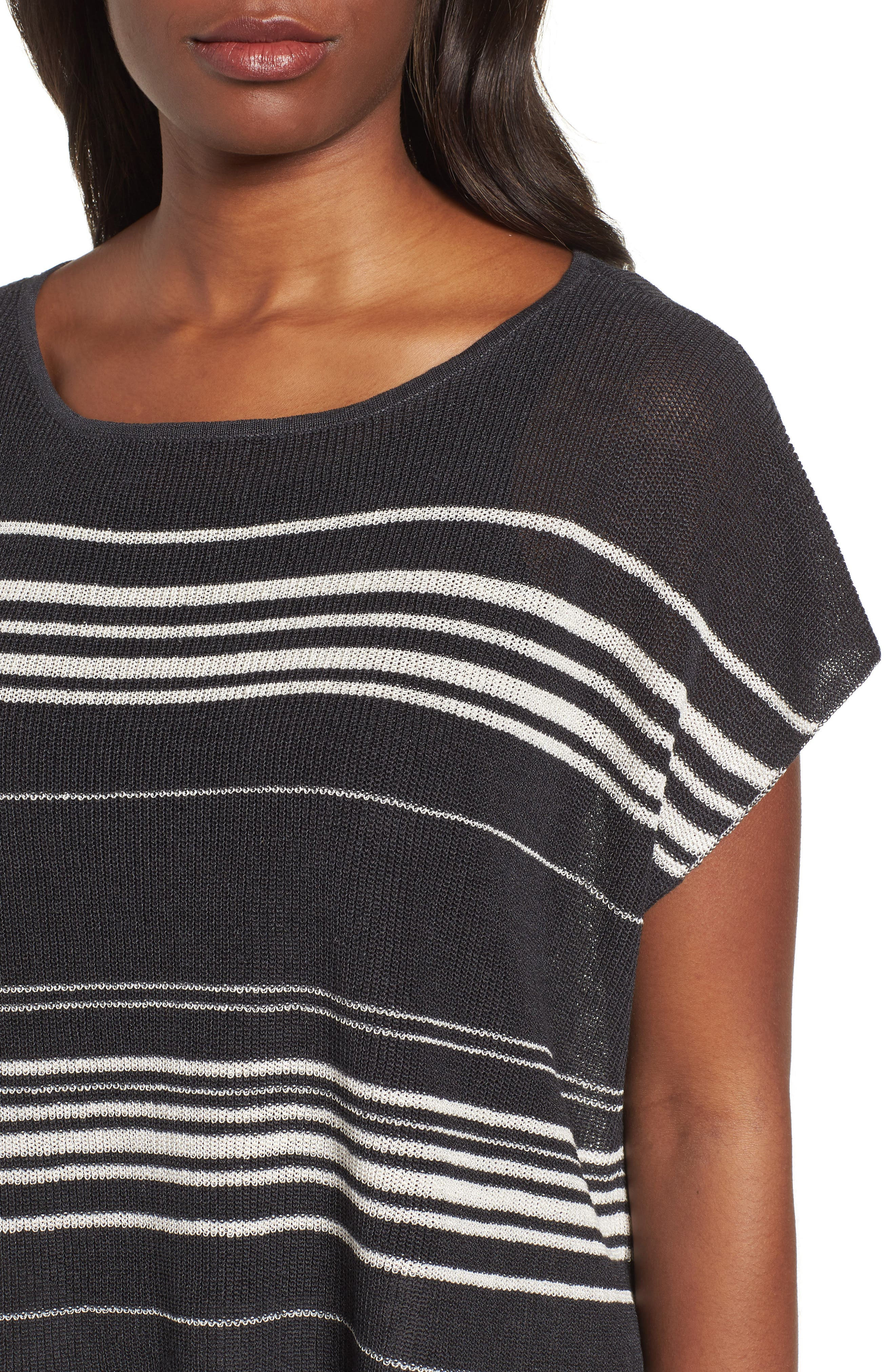 Organic Linen Blend Poncho Sweater,                             Alternate thumbnail 4, color,                             Graphite/ Bone