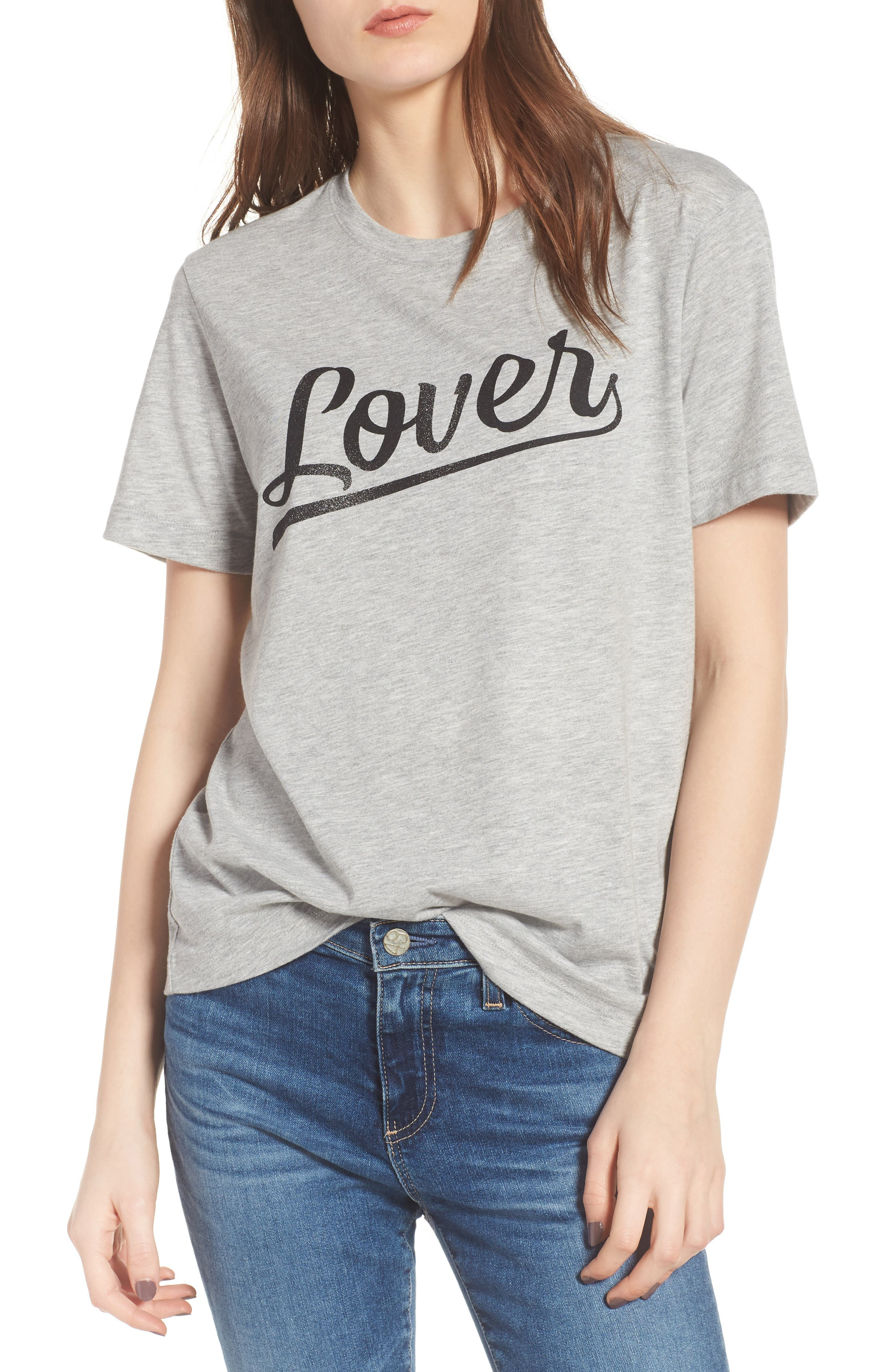 Lover Tee,                         Main,                         color, Heather Grey/ Black
