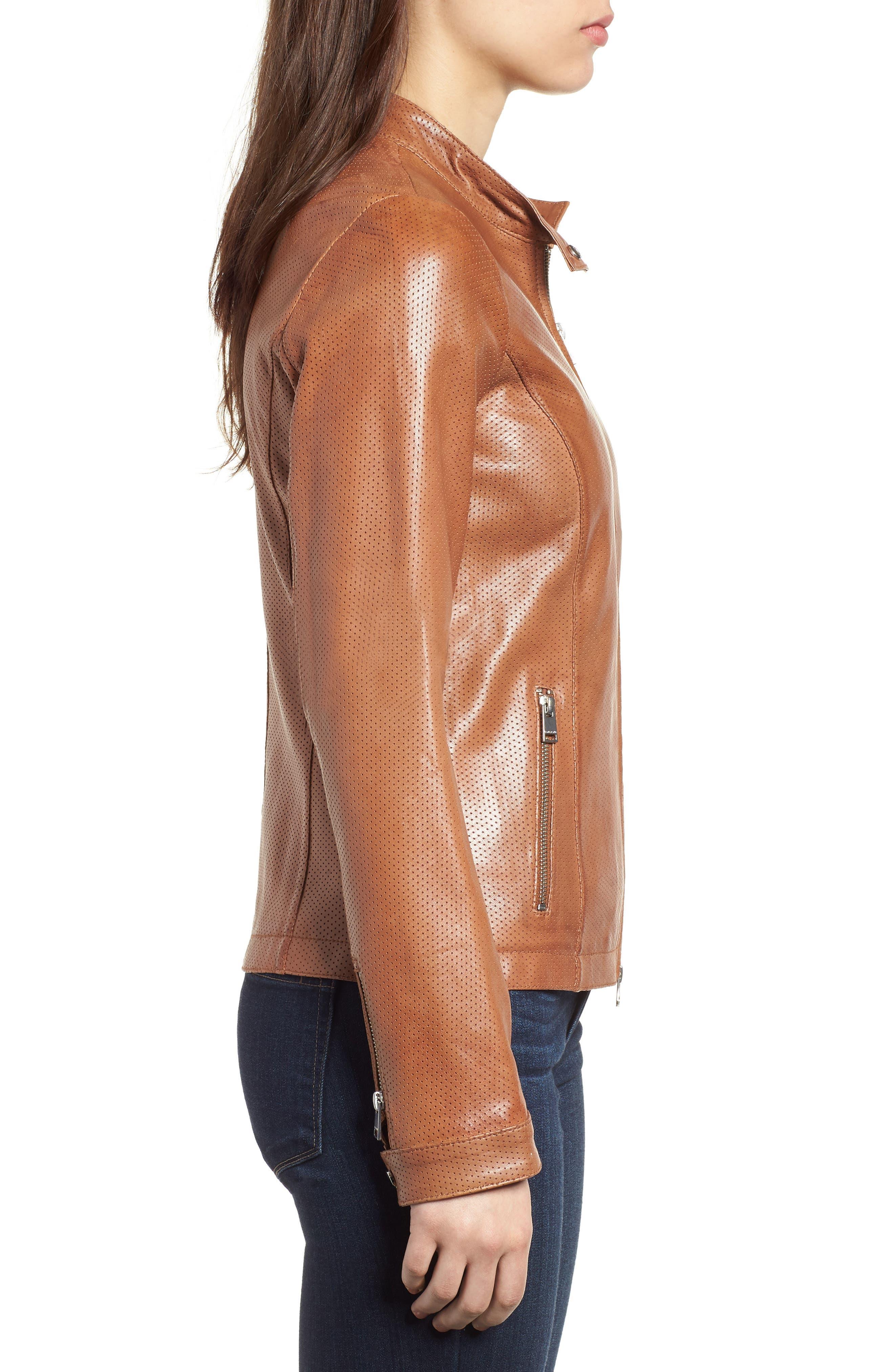 Perforated Leather Biker Jacket,                             Alternate thumbnail 3, color,                             Tan