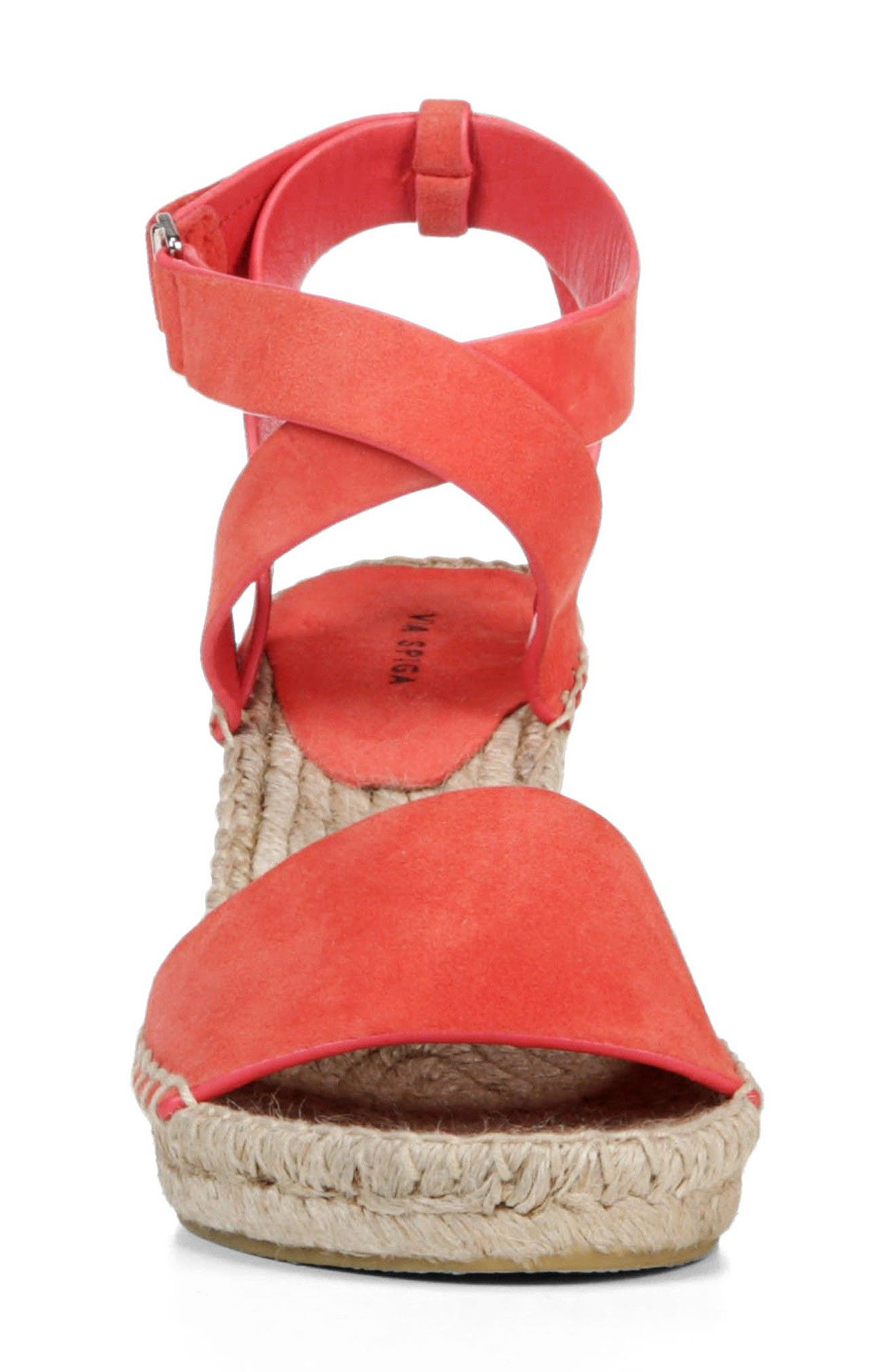 Nevada Espadrille Wedge Sandal,                             Alternate thumbnail 4, color,                             Poppy Red Suede