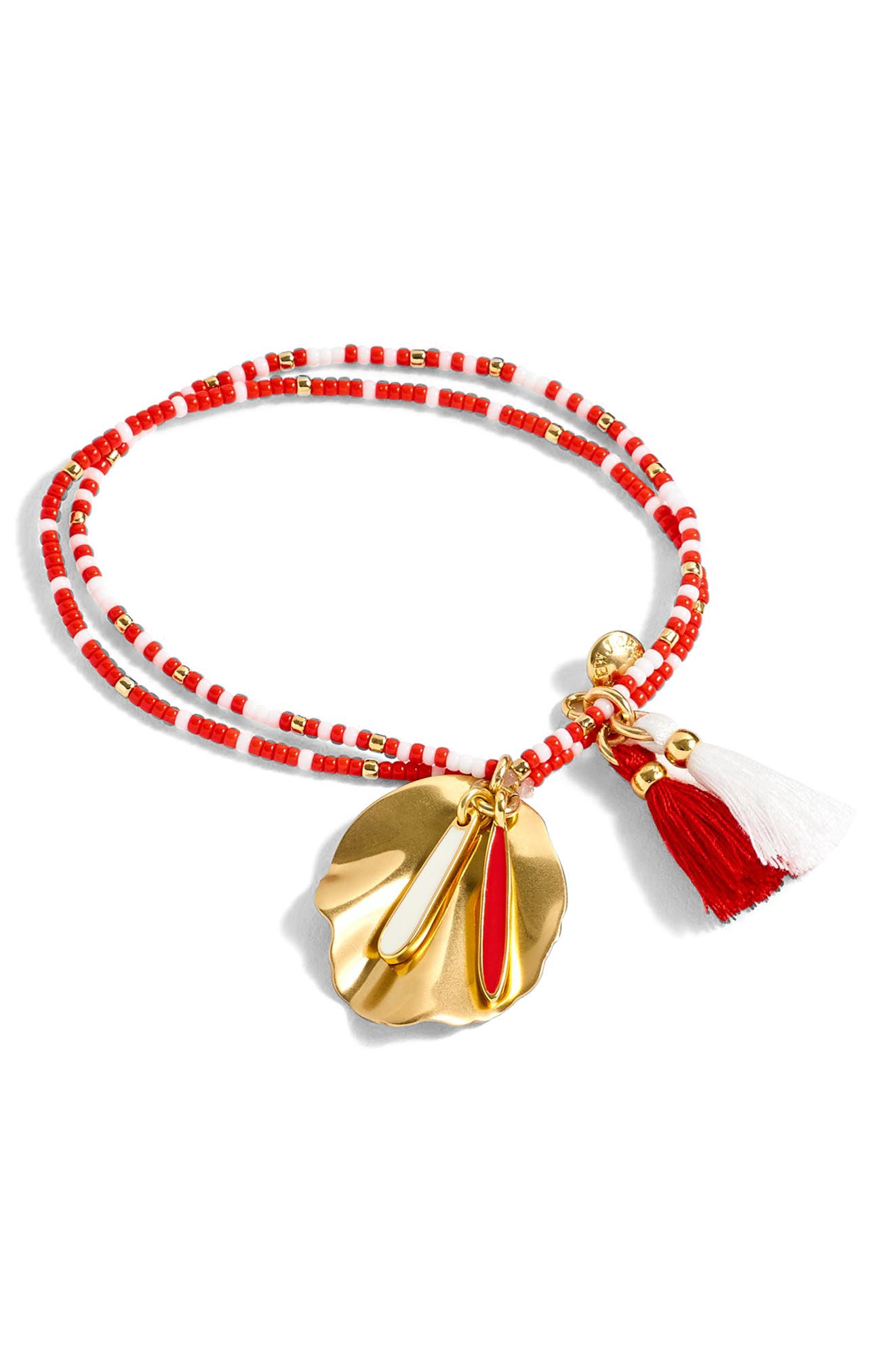 J.Crew Beaded Shell & Tassel Bracelet