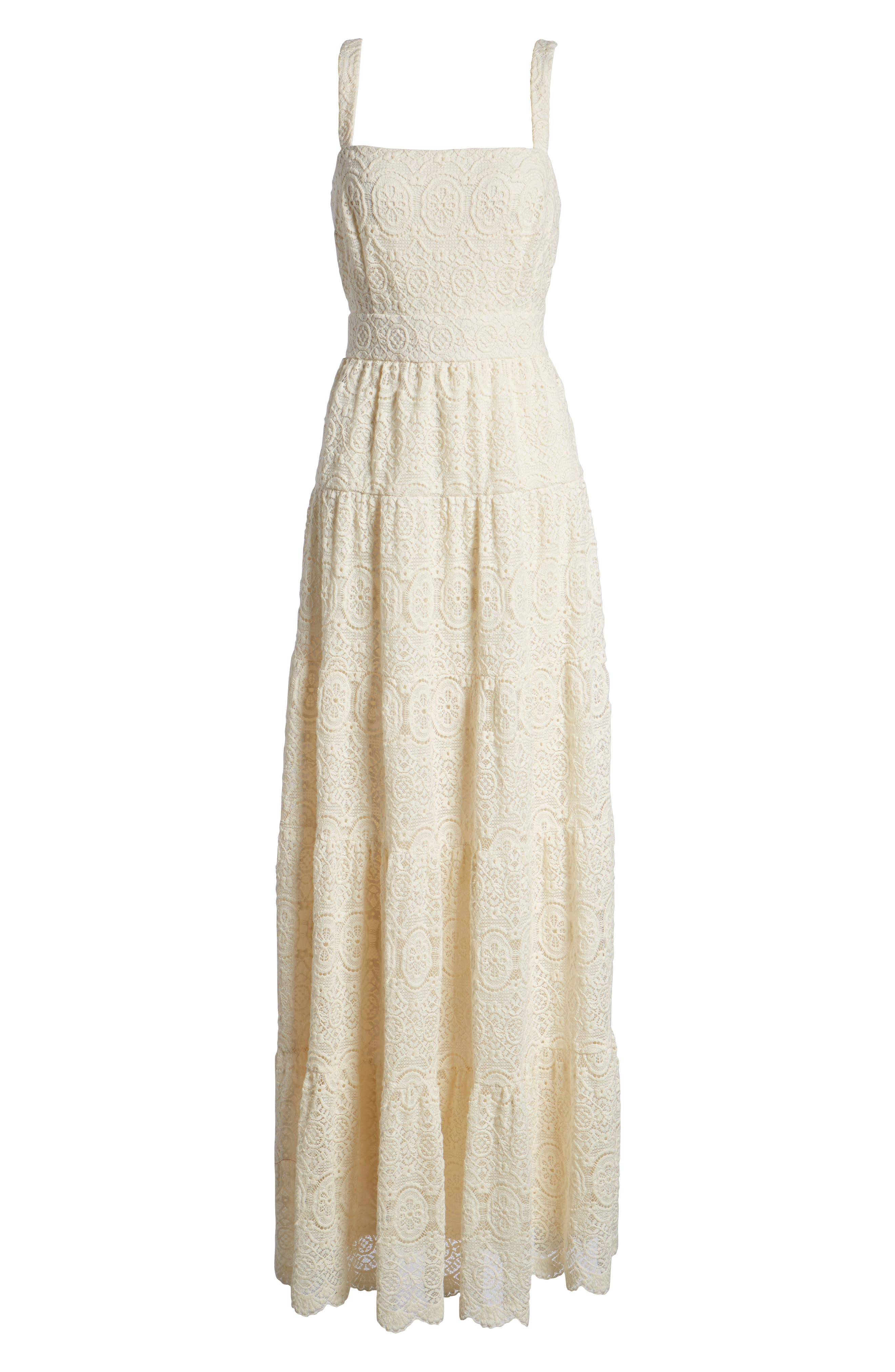 Tiered Lace Maxi Dress,                             Alternate thumbnail 7, color,                             Ivory