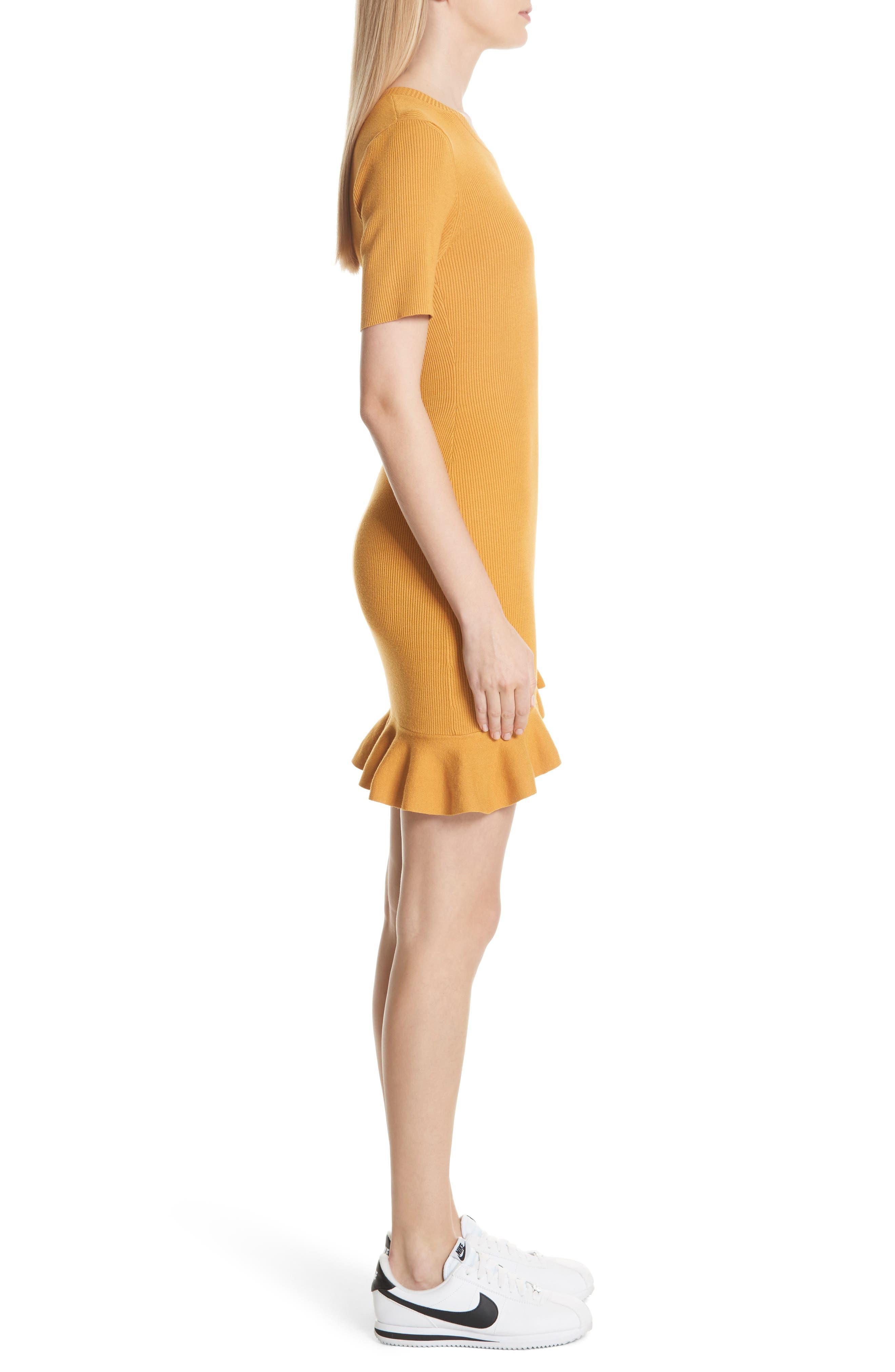 Tulum Ribbed Ruffle Hem Dress,                             Alternate thumbnail 3, color,                             Putty Yellow