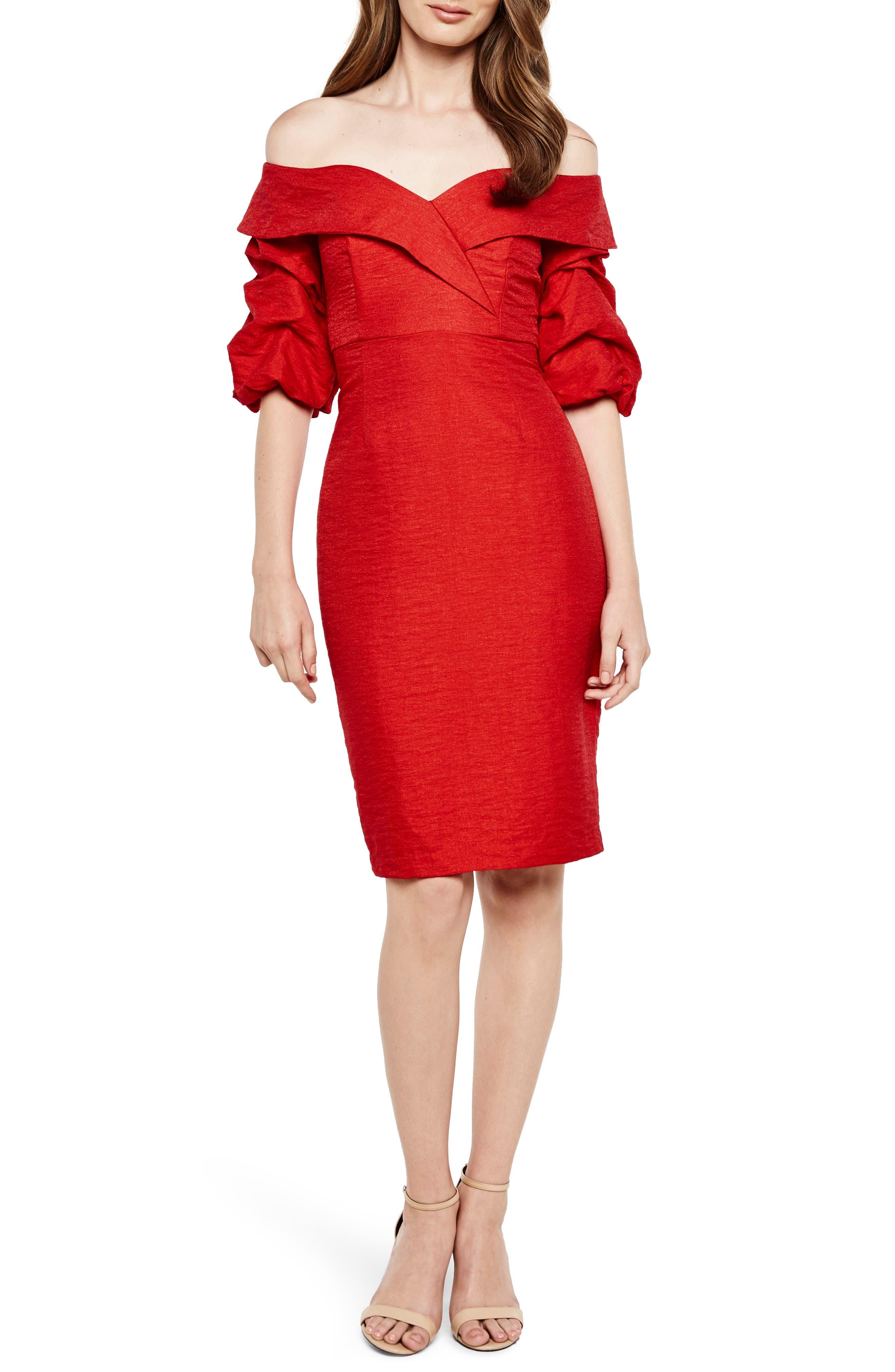 Devlin Off the Shoulder Dress,                         Main,                         color, Lipstick
