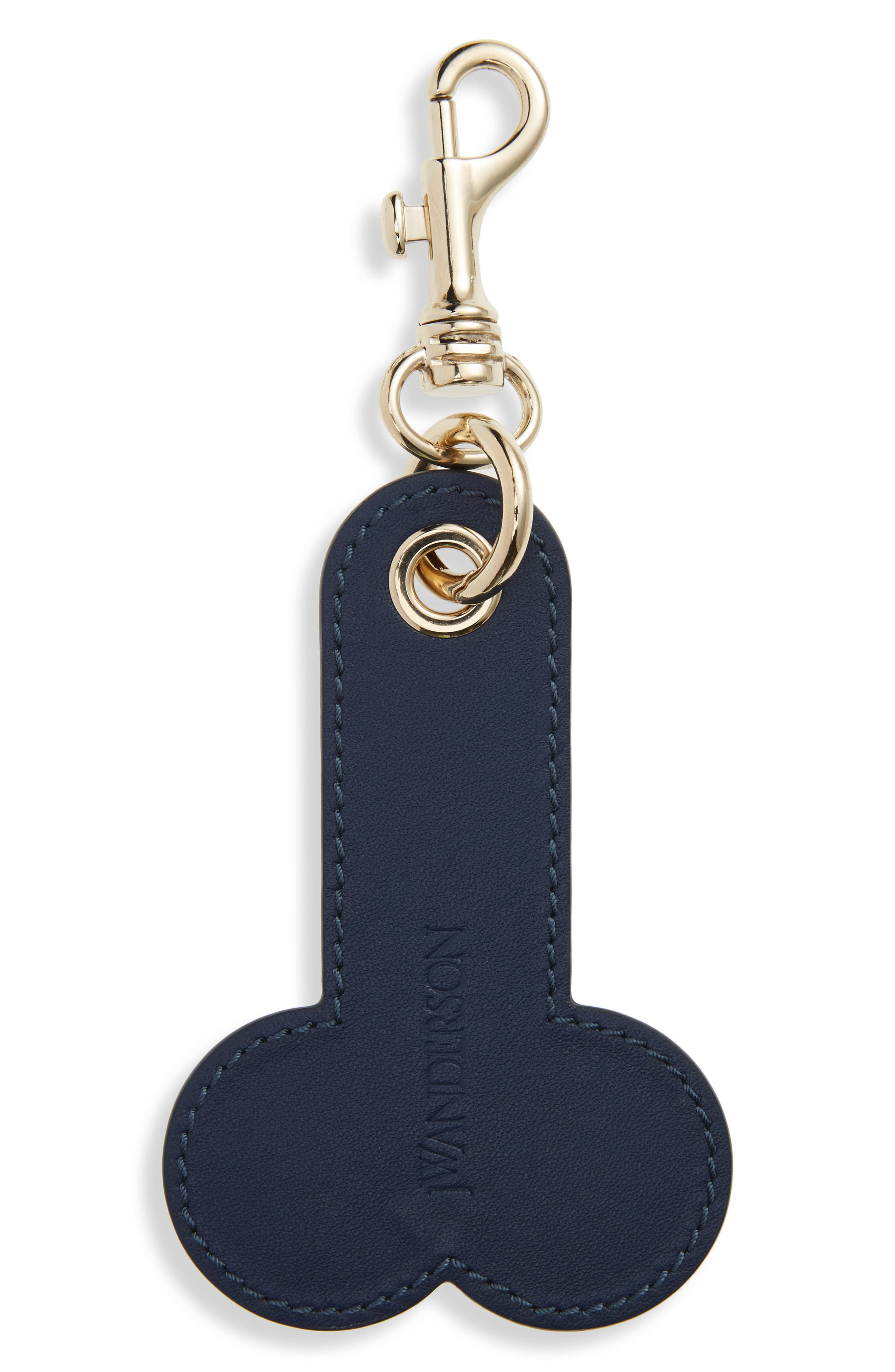 Logo Embossed Leather Bag Charm,                         Main,                         color, Navy