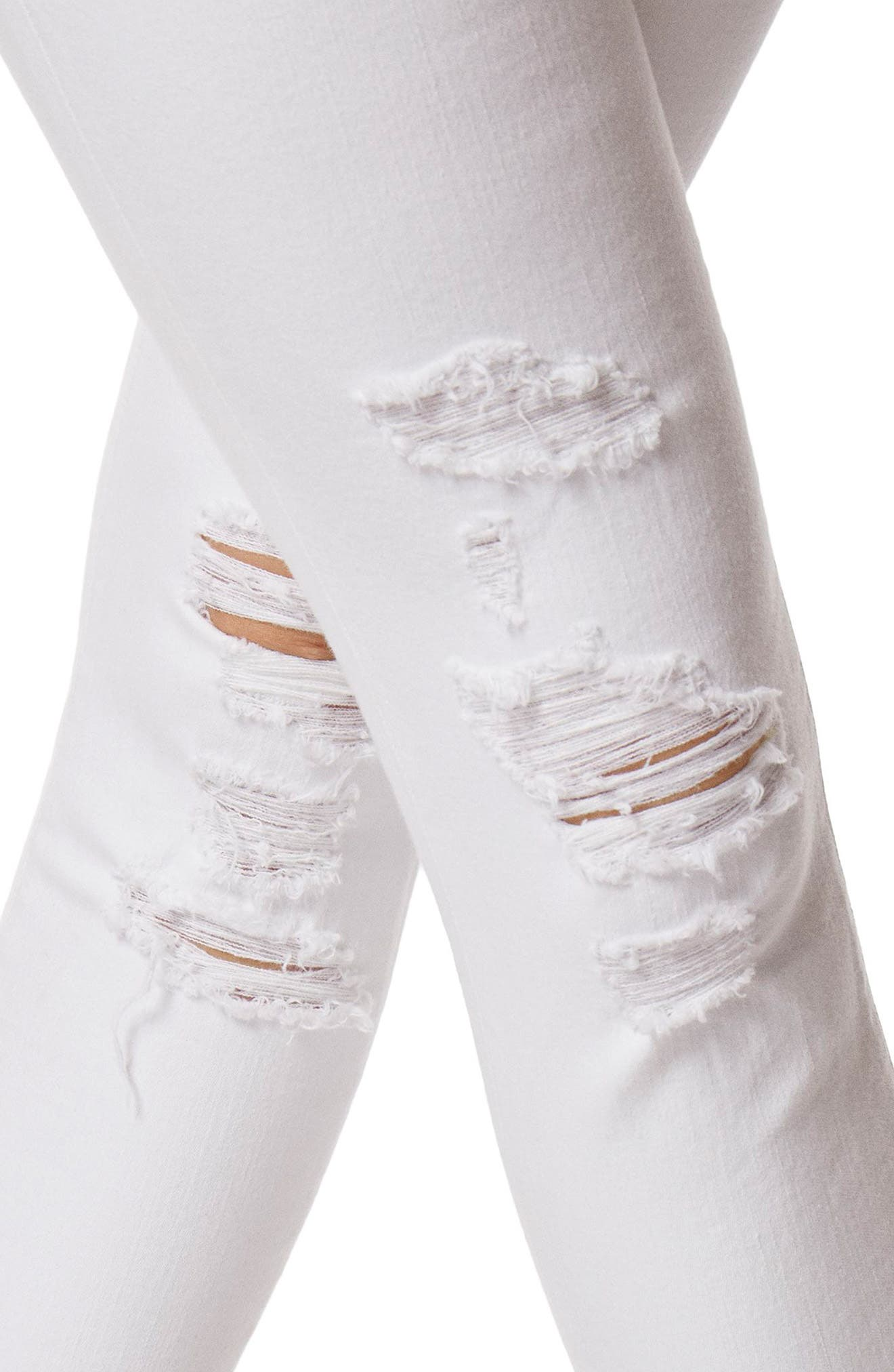 9326 Low Rise Crop Skinny Jeans,                             Alternate thumbnail 6, color,                             Demented White Destructed
