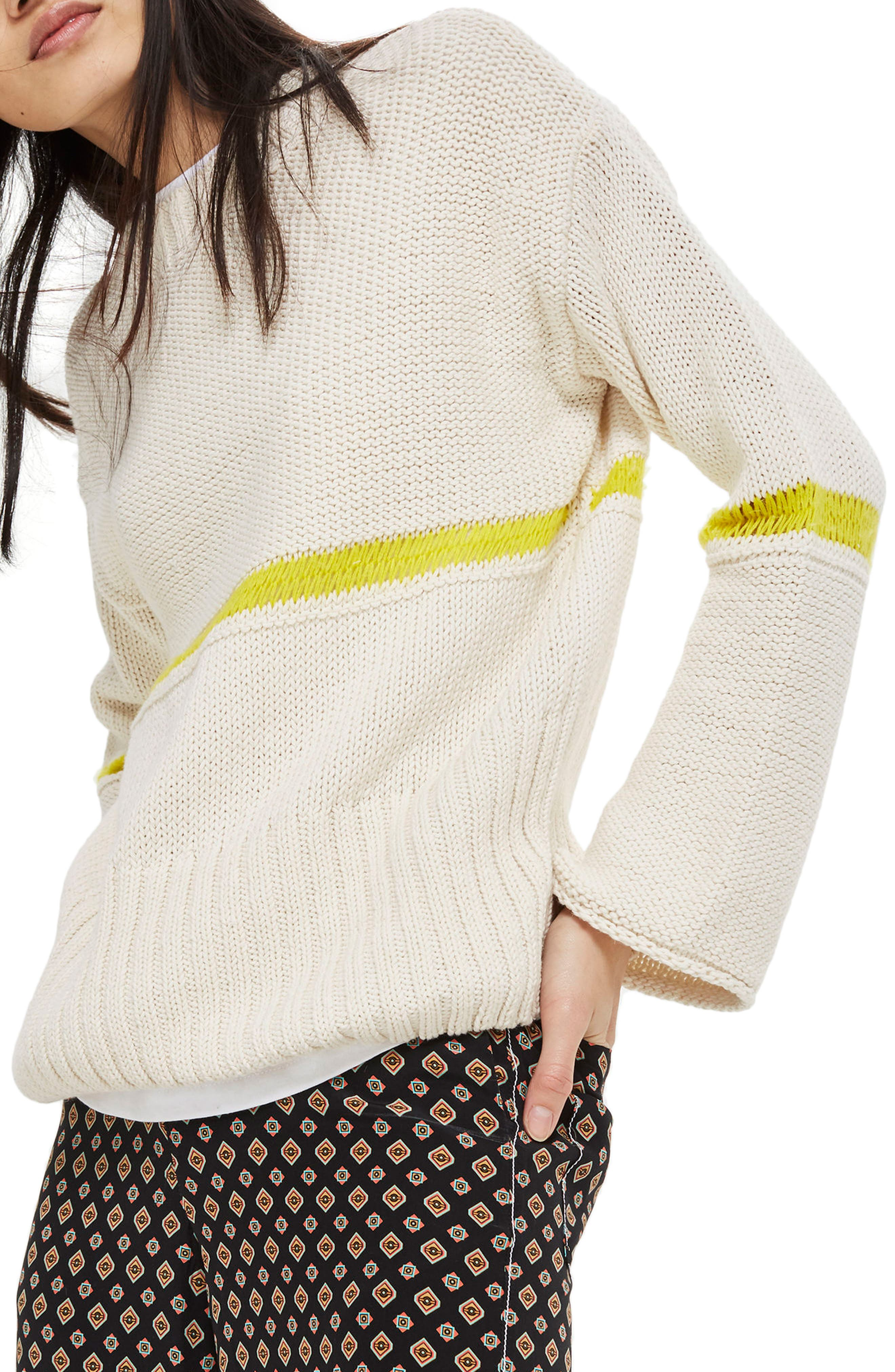 Stripe Yarn Sweater,                             Main thumbnail 1, color,                             Ivory Multi